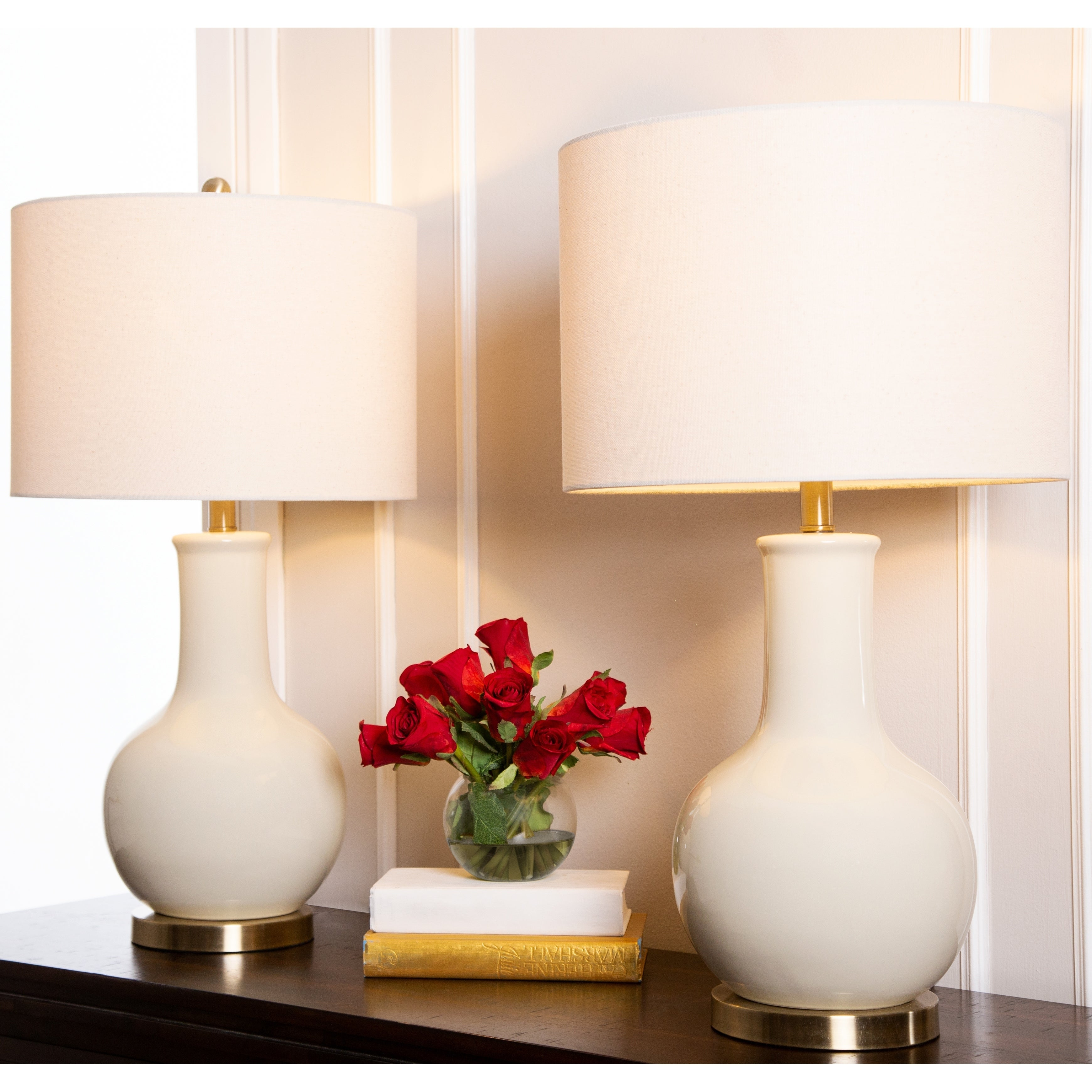 Shop Abbyson Gourd Beige Ceramic 29 Inch Table Lamp Set Of 2 On