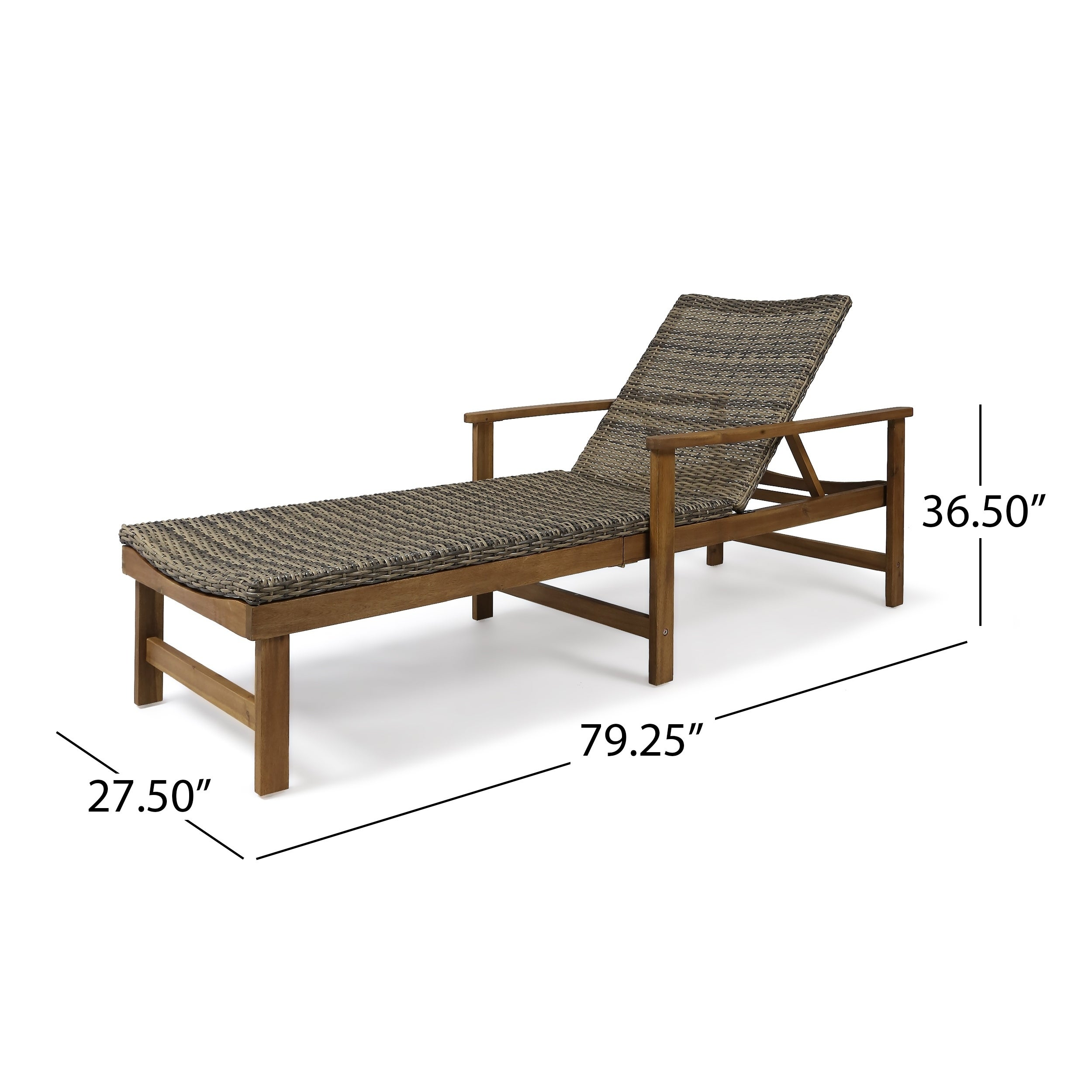 08dffbb63dd ... Christopher Knight Home Hampton Outdoor Chaise Lounge Acacia Wood And  Wicker By