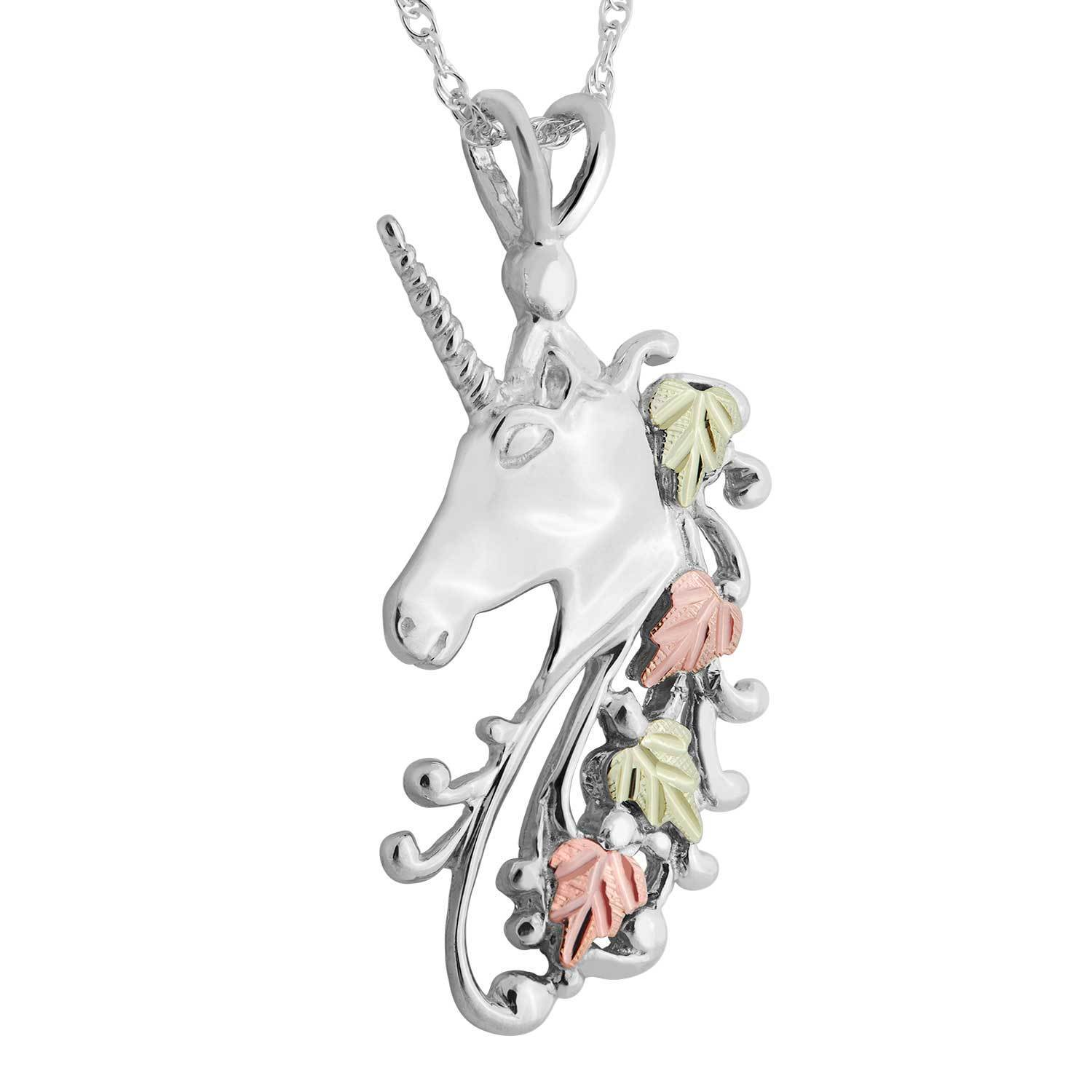 white pendant s and claire unicorn necklace silver rainbow amp tone