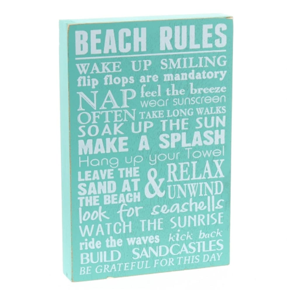 Shop decorative wooden signs beach rules 12 x 8 x 1 5 green free shipping on orders over 45 overstock 23072583