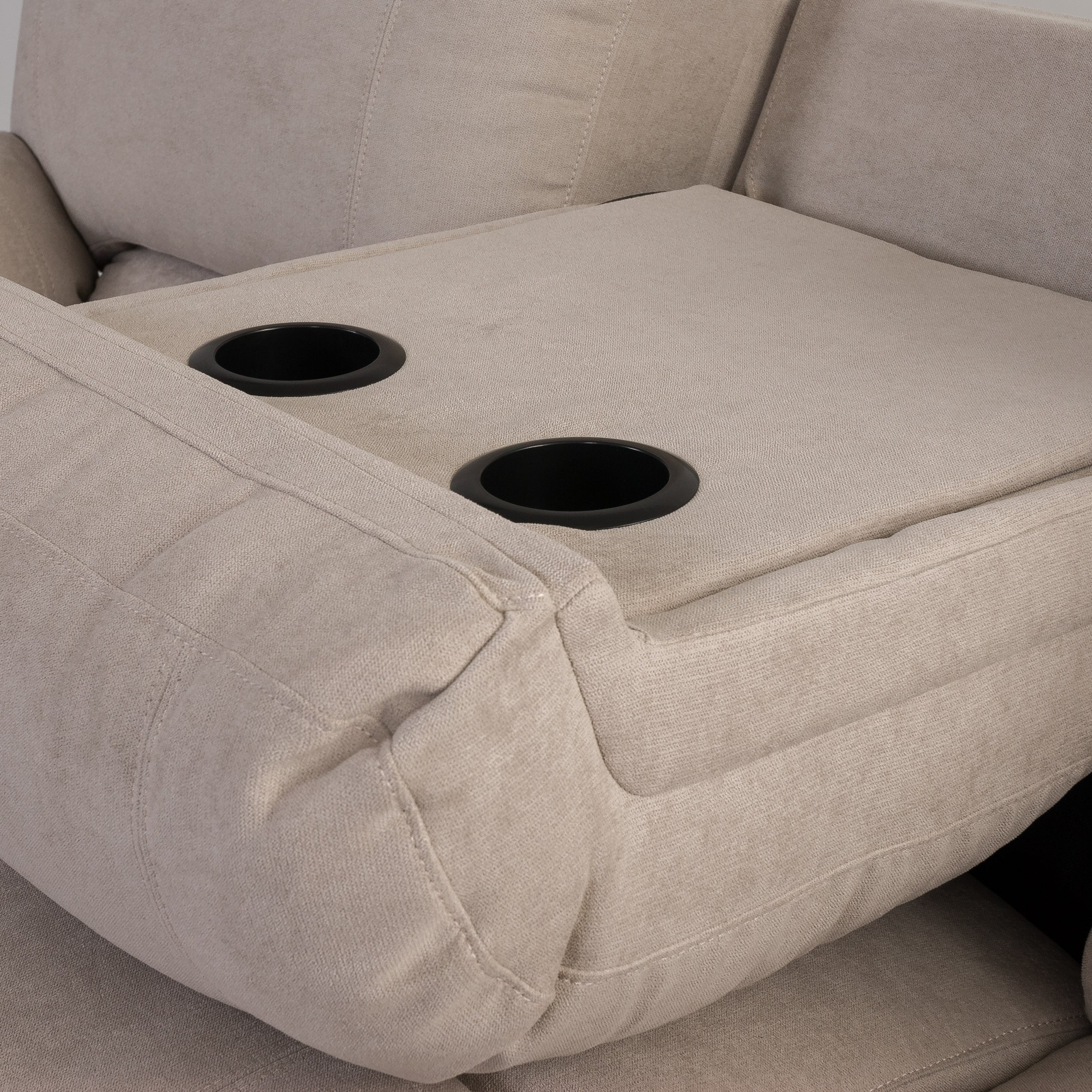 Shop Chenille Fabric Power Reclining Sofa With Usb Port Free