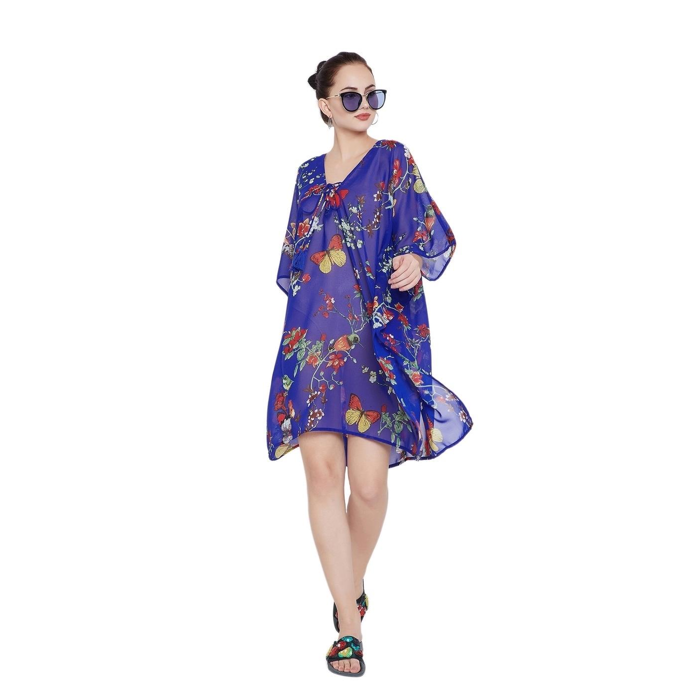 1f5b214984780 Shop Royal Blue Floral Tassel Beach Dress Bikini Cover Up Women Bathingsuit  - Free Shipping Today - Overstock - 23092062