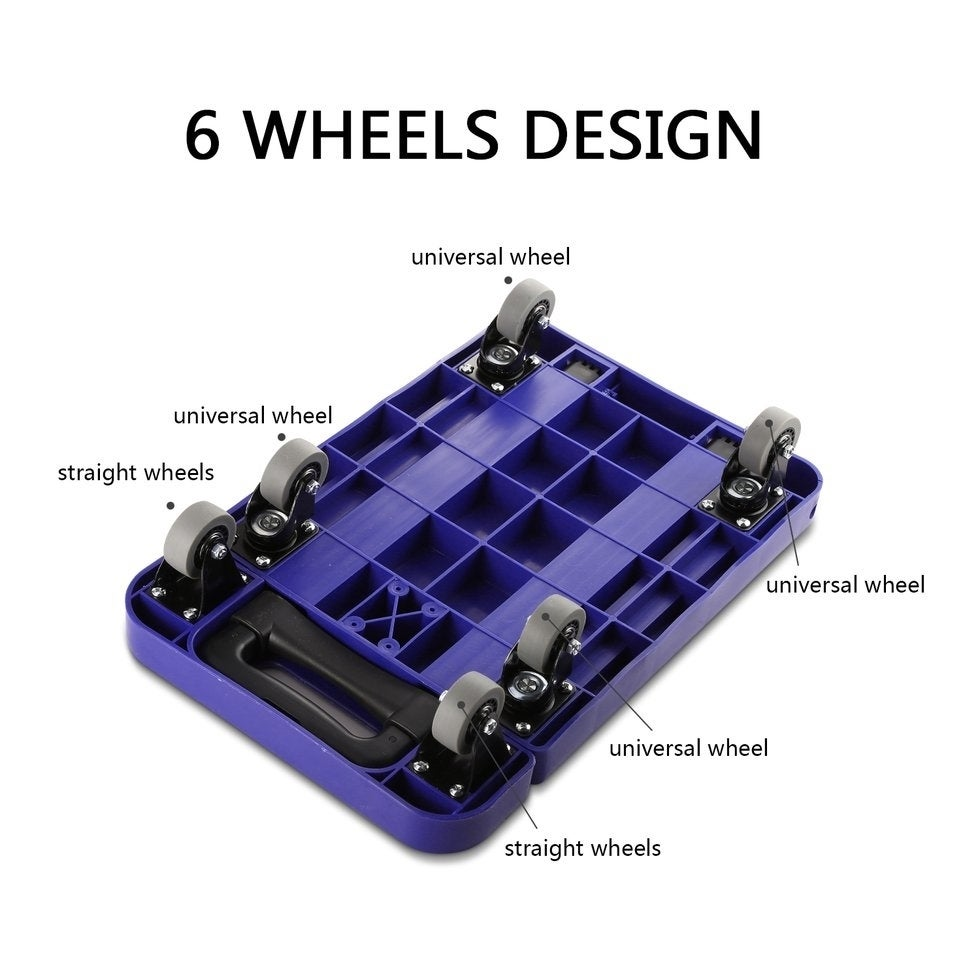 1e852de19120 Foldable 6 Wheels Extendable Flat Luggage Cart Hand Trolley with 3-fold  Handle