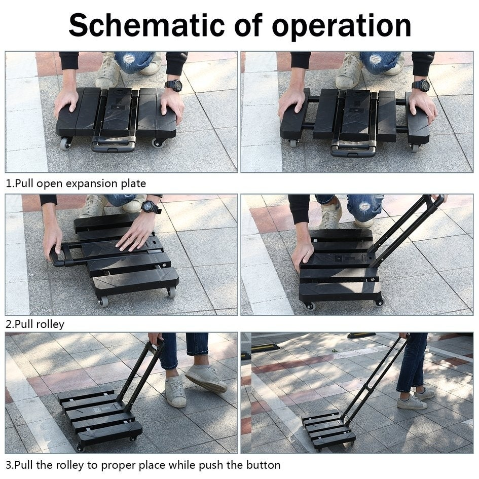 8865c8c4e6d2 Extendable Hand Trolley 6-Universal-Wheel Flat Luggage Cart with 3-fold  Handle