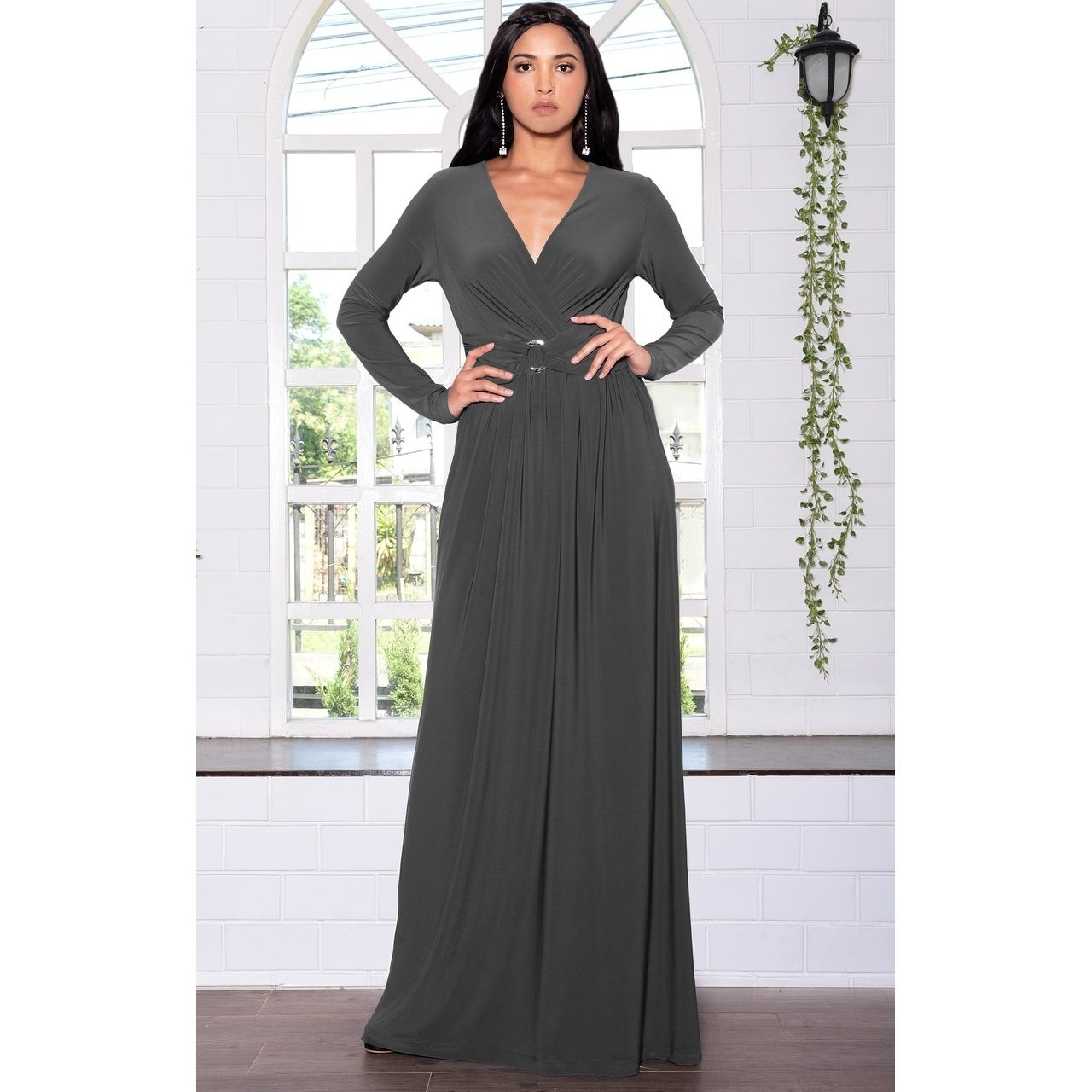 12d5776230 KOH KOH Womens Belted Flowy Long Semi Formal Sleeve Stylish Maxi Dress