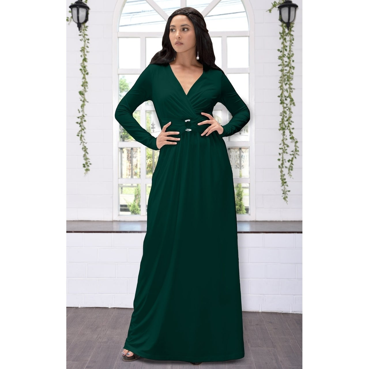 c4d475286e466 Shop KOH KOH Womens Belted Flowy Long Semi Formal Sleeve Stylish Maxi Dress  - Free Shipping Today - Overstock - 23107026