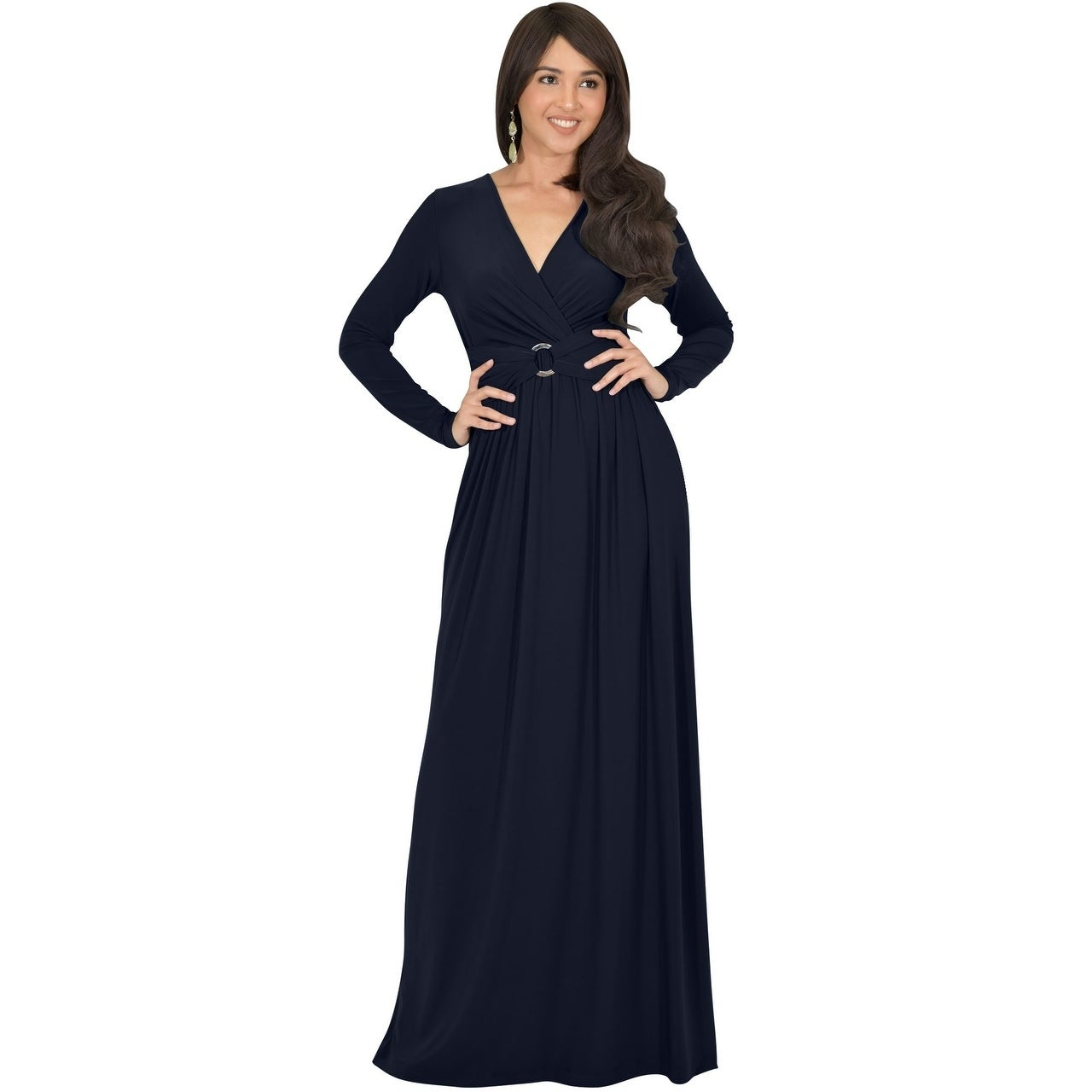 819254fe5485 Shop KOH KOH Womens Belted Flowy Long Semi Formal Sleeve Stylish Maxi Dress  - Free Shipping Today - Overstock - 23107026