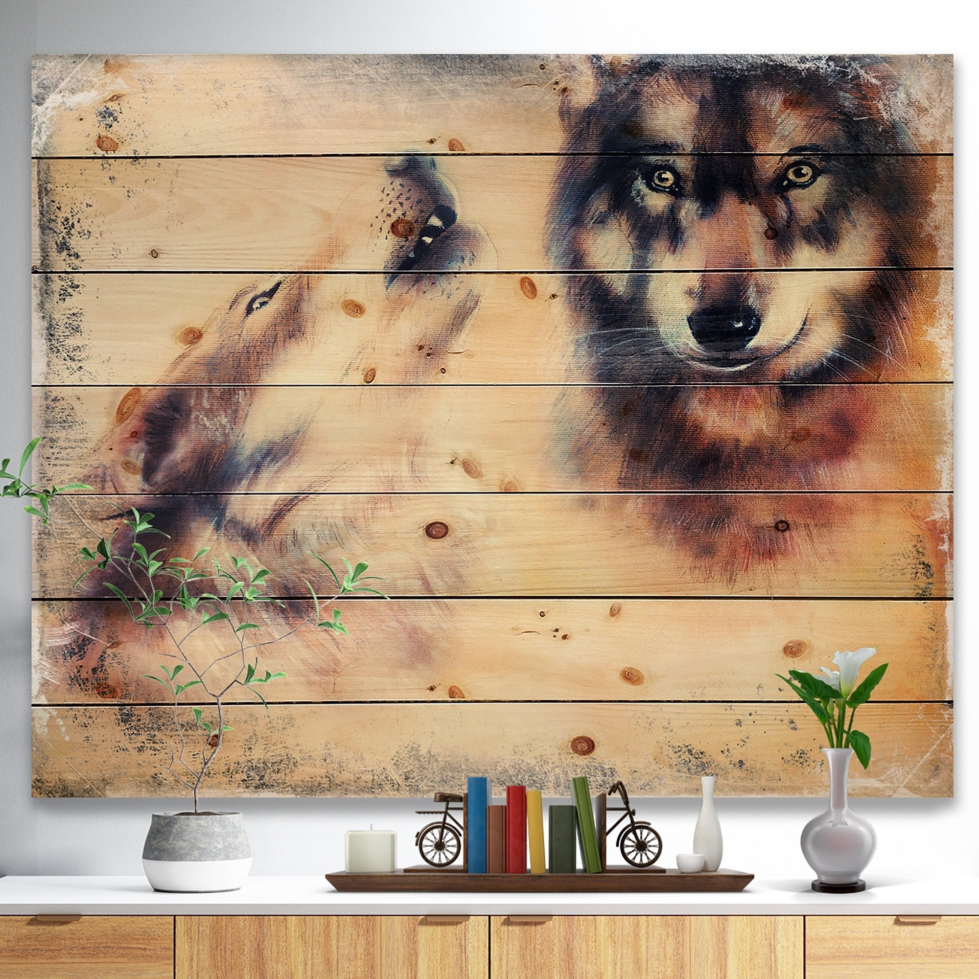 Shop \'Howling Wolf\' Bohemian Print on Natural Pine Wood - beige ...