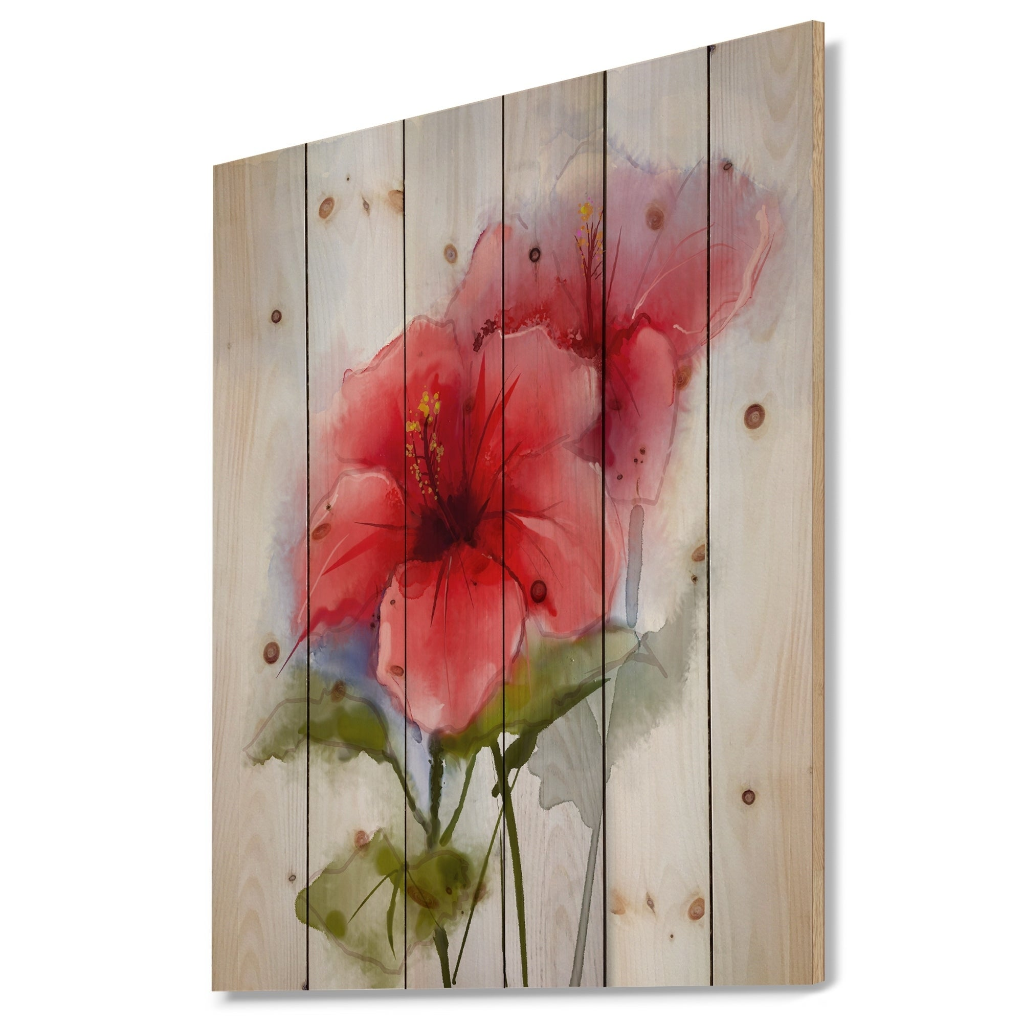 Shop Watercolor Painting Red Hibiscus Flower Floral Print On