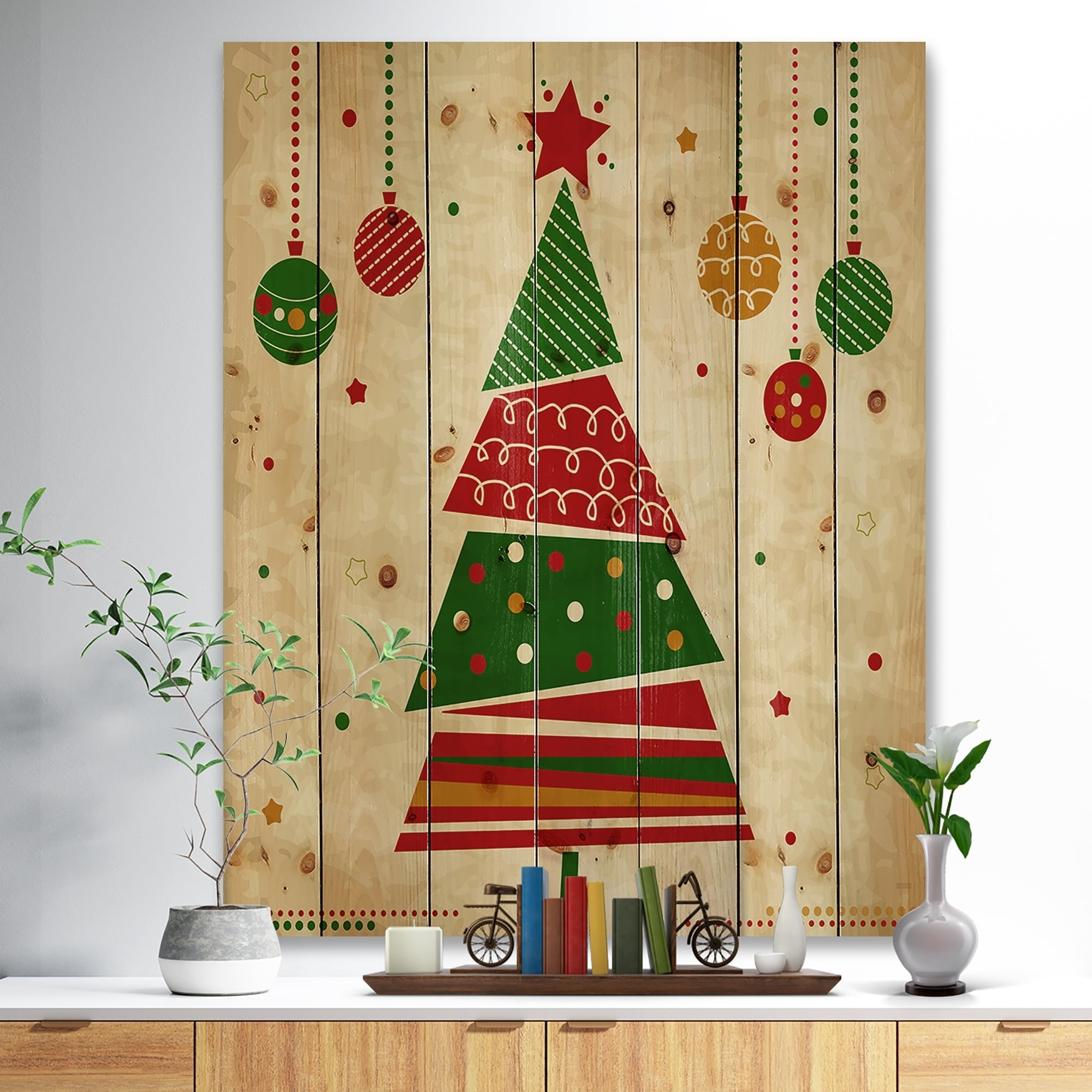 Shop \'Deconstructed Abstract red and green Christmas Tree\' Print on ...