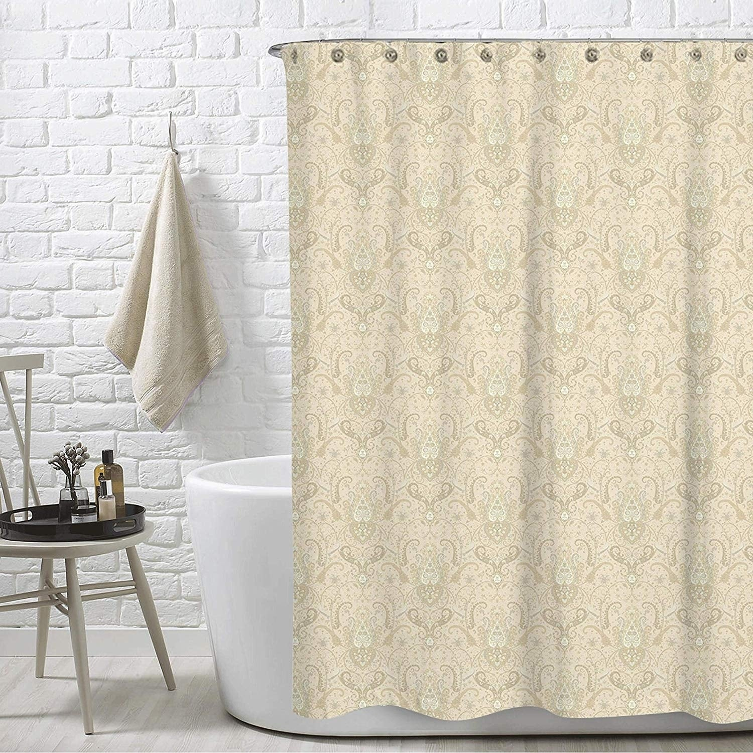Shop Royal Paisley Beige Lucia Water Repellent Shower Curtain 72X72Free 12 Piece Rings