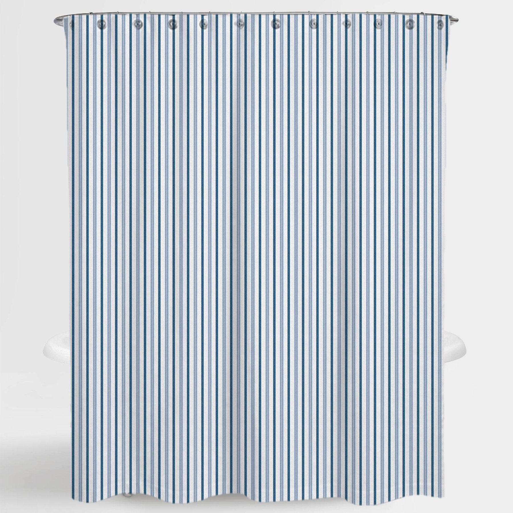 Stripe Blue Two Tone Resa Water Repellent Shower Curtain 72 X72 Free 12 Piece Shower Curtain Rings