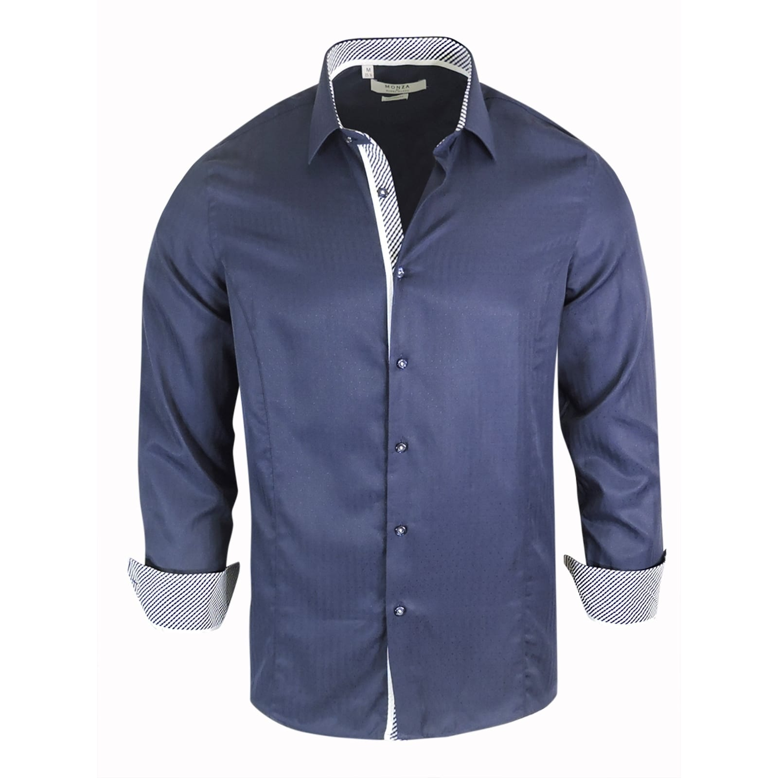 Shop Monza Tailored Fit Navy Dress Shirt Free Shipping On Orders