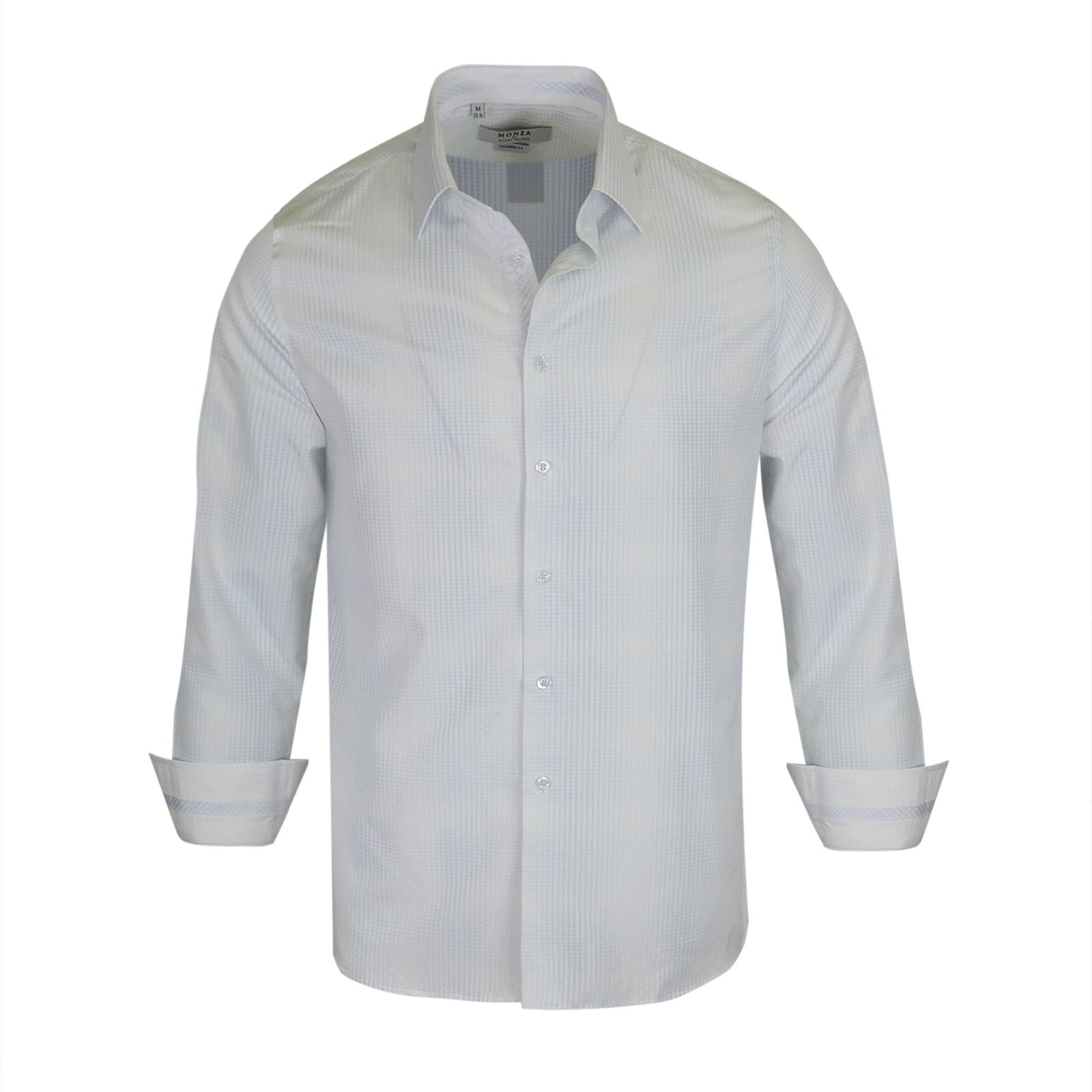Shop Monza Light Blue Strips On White Pattern Tailored Fit Shirt