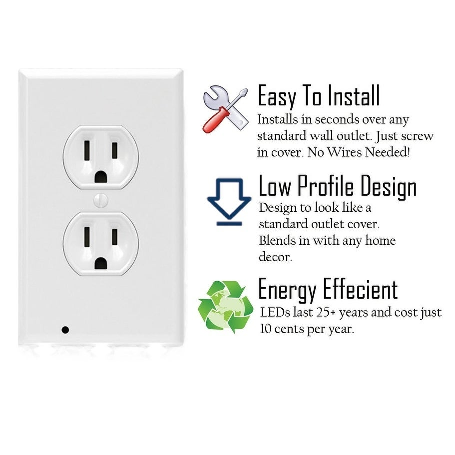 Shop 4 Wall Outlet Led Night Light Easy Snap On Outlet Cover Plate
