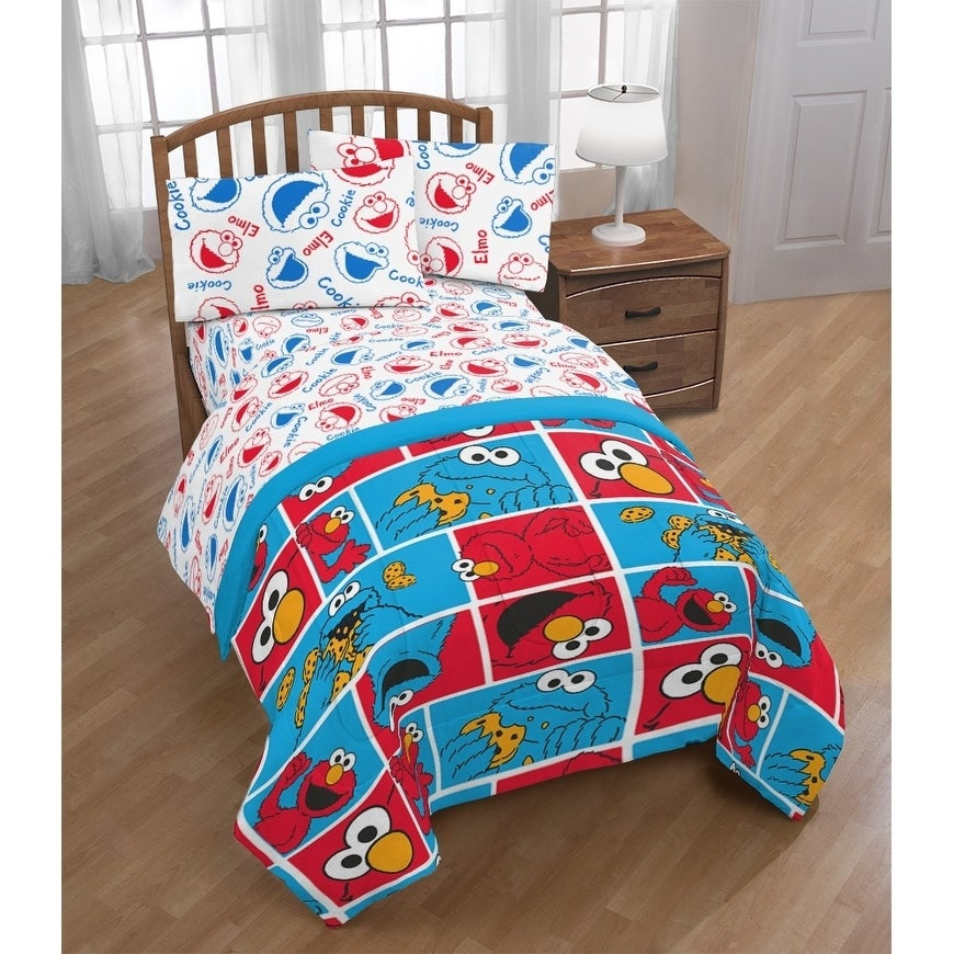 Sesame Street Cookie Squares 4 Piece Twin Bed Set On Free Shipping Today 23119197