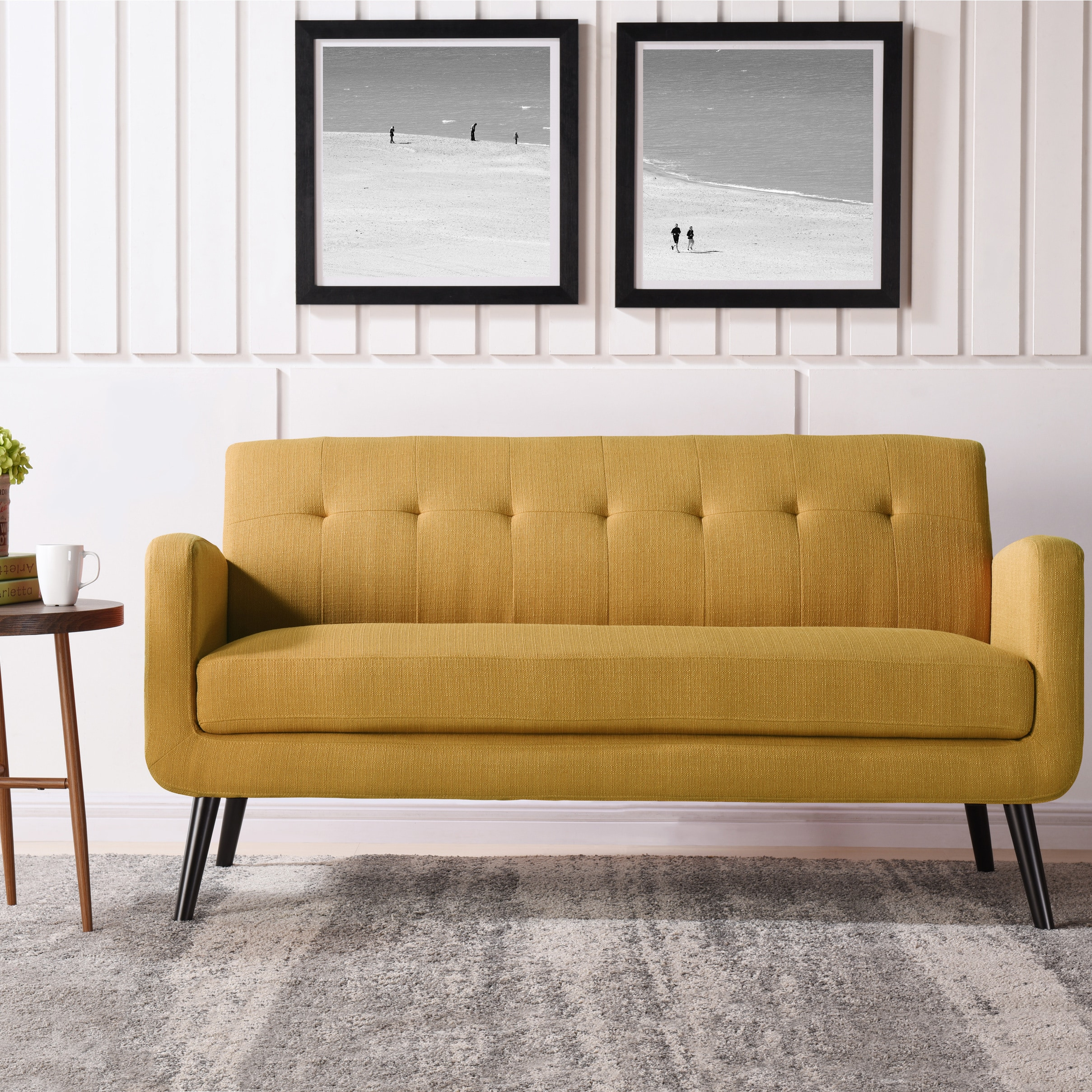 Carson Carrington Tjaereborg Mustard Yellow Mid Century Modern Sofa