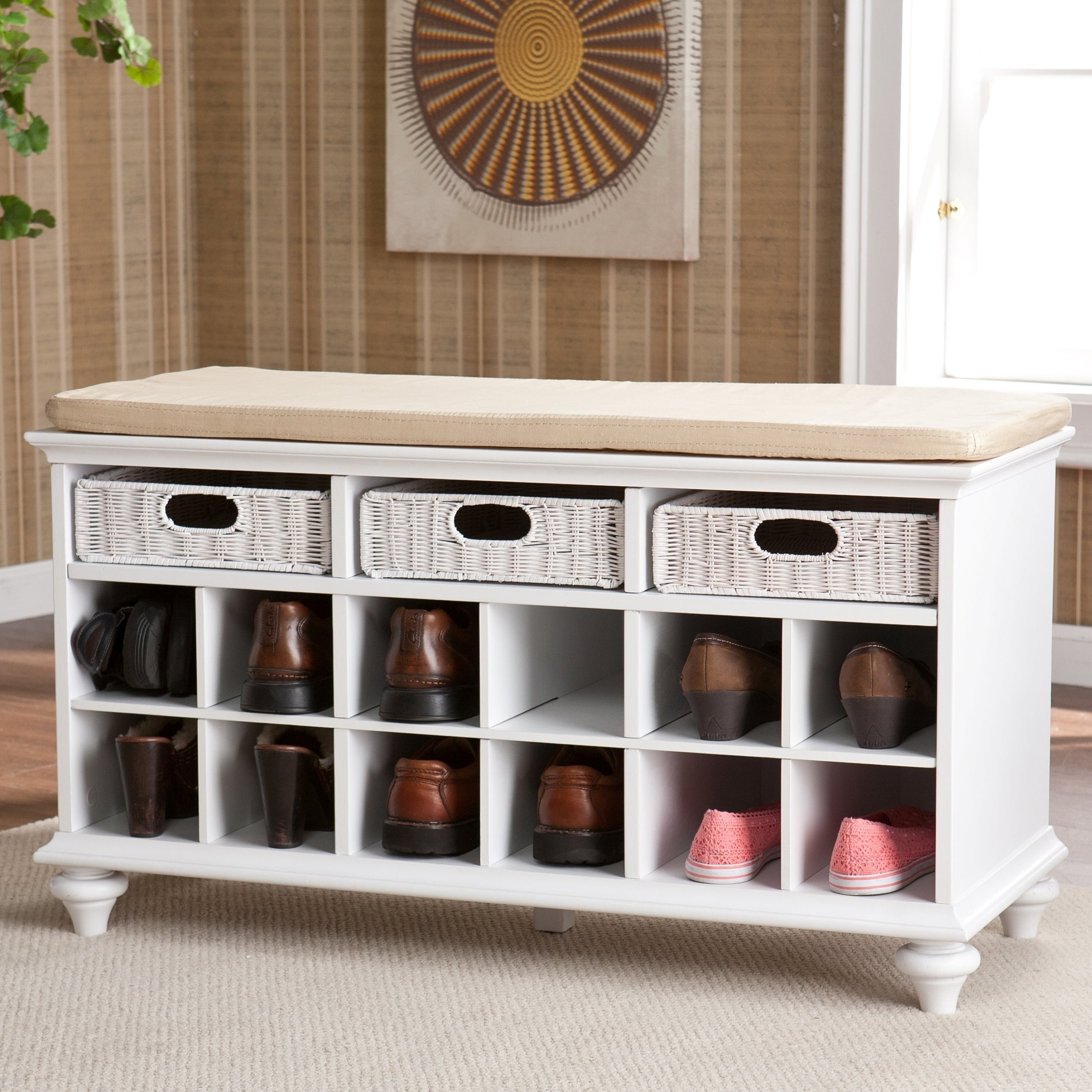 Copper grove guillermo white entryway bench with shoe storage