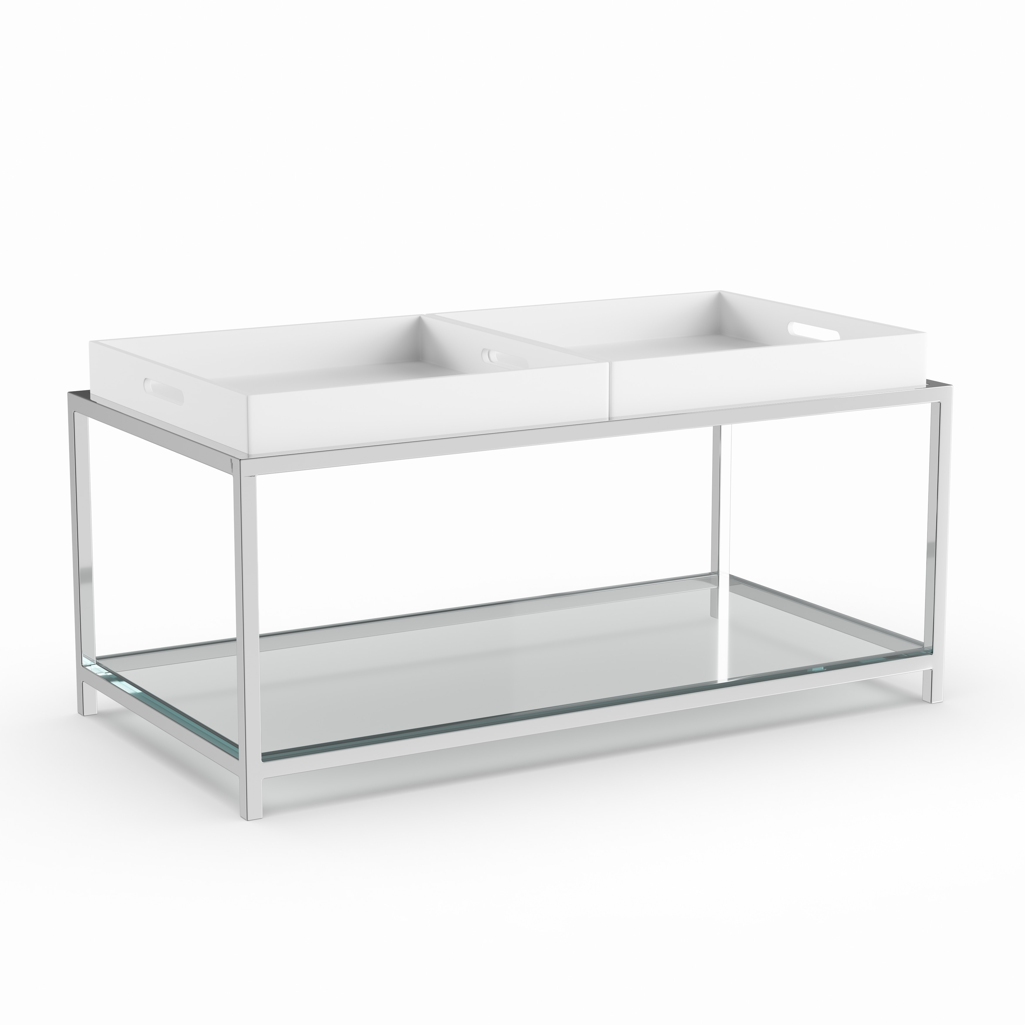 Silver Orchid Makay Chrome Finish Tempered Coffee Table With Removable Trays On Free Shipping Today 23122996