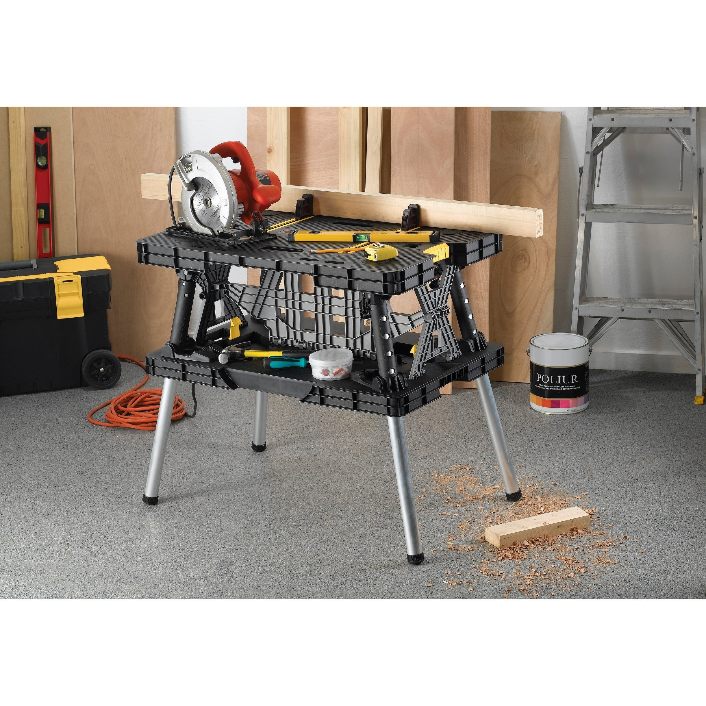 Shop Keter Portable Folding Compact Workbench Work Table With Clamps