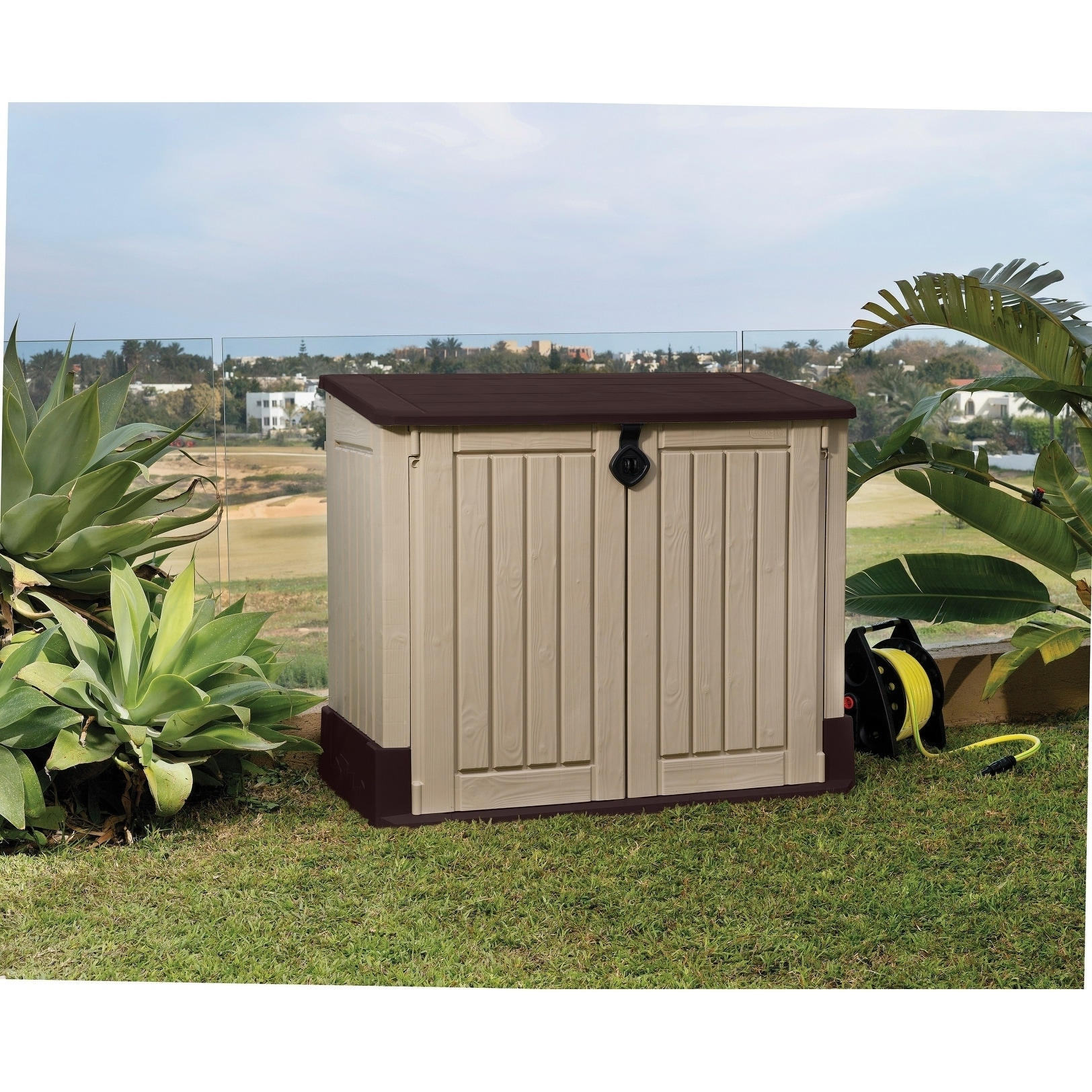 Shop Keter Store It Out MIDI Outdoor Plastic Resin Horizontal Storage Shed    Free Shipping Today   Overstock.com   23128238