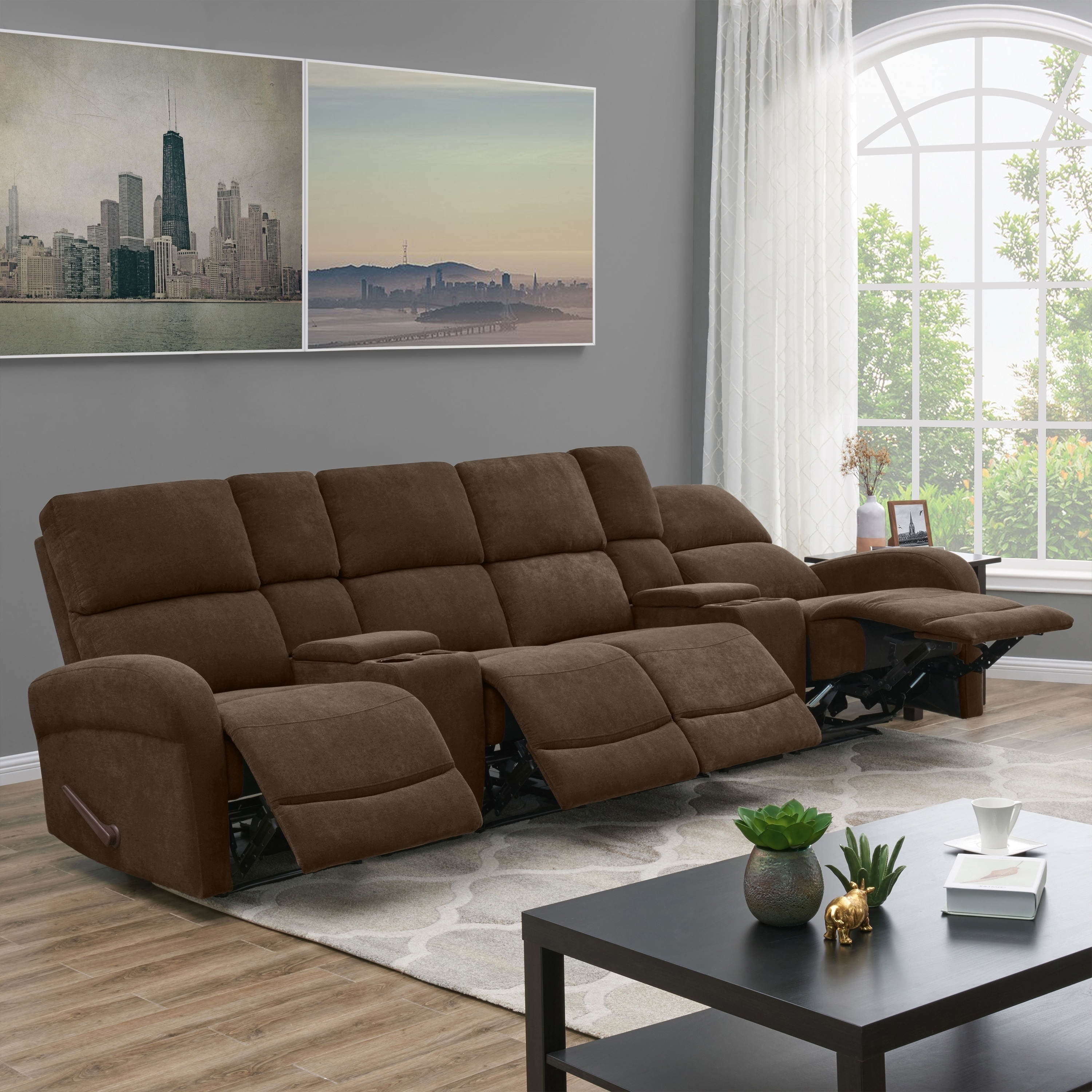 Shop ProLounger Brown Chenille 4 Seat Recliner Sofa With Power Storage  Consoles   Free Shipping Today   Overstock.com   23129116