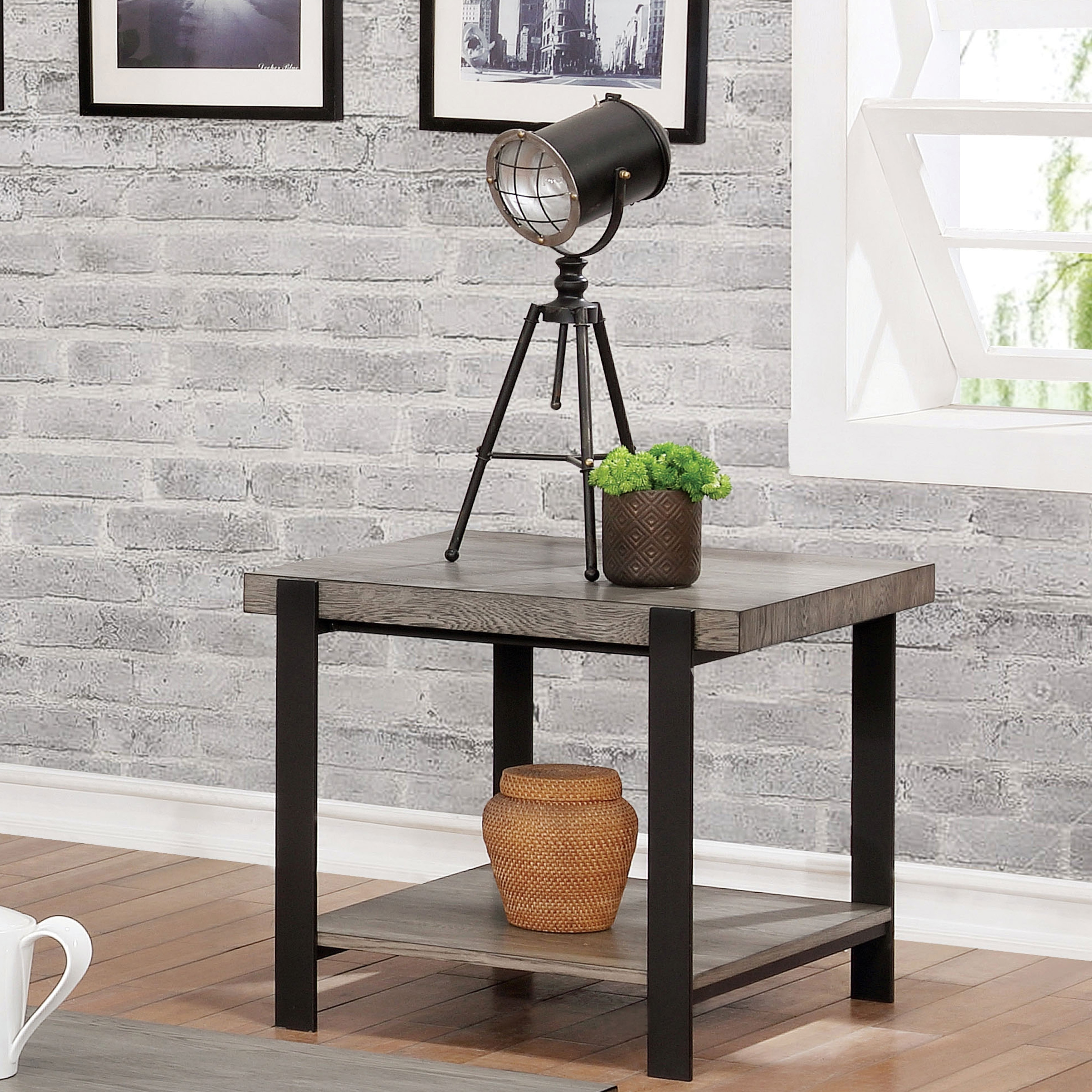 fb93b4fcc1a Shop Furniture of America Blake Contemporary Grey Wash End Table ...