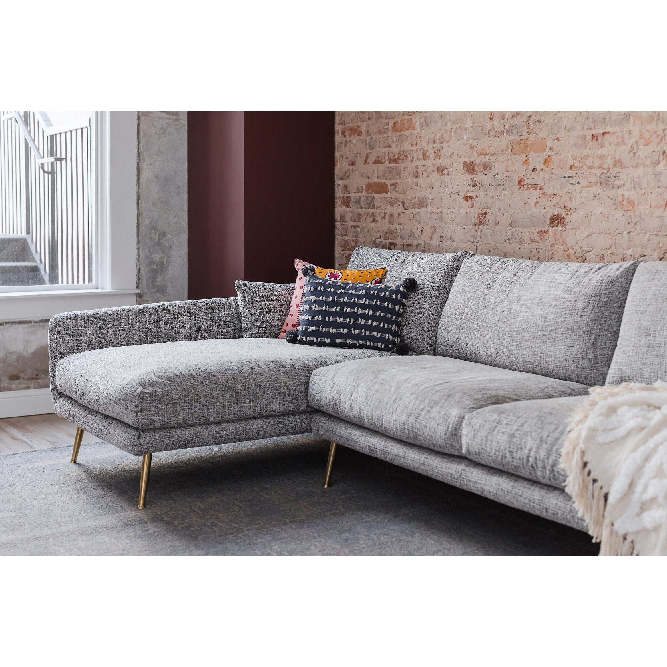 Shop hayley grey upholstered mid century modern sectional sofa free shipping today overstock com 23136568