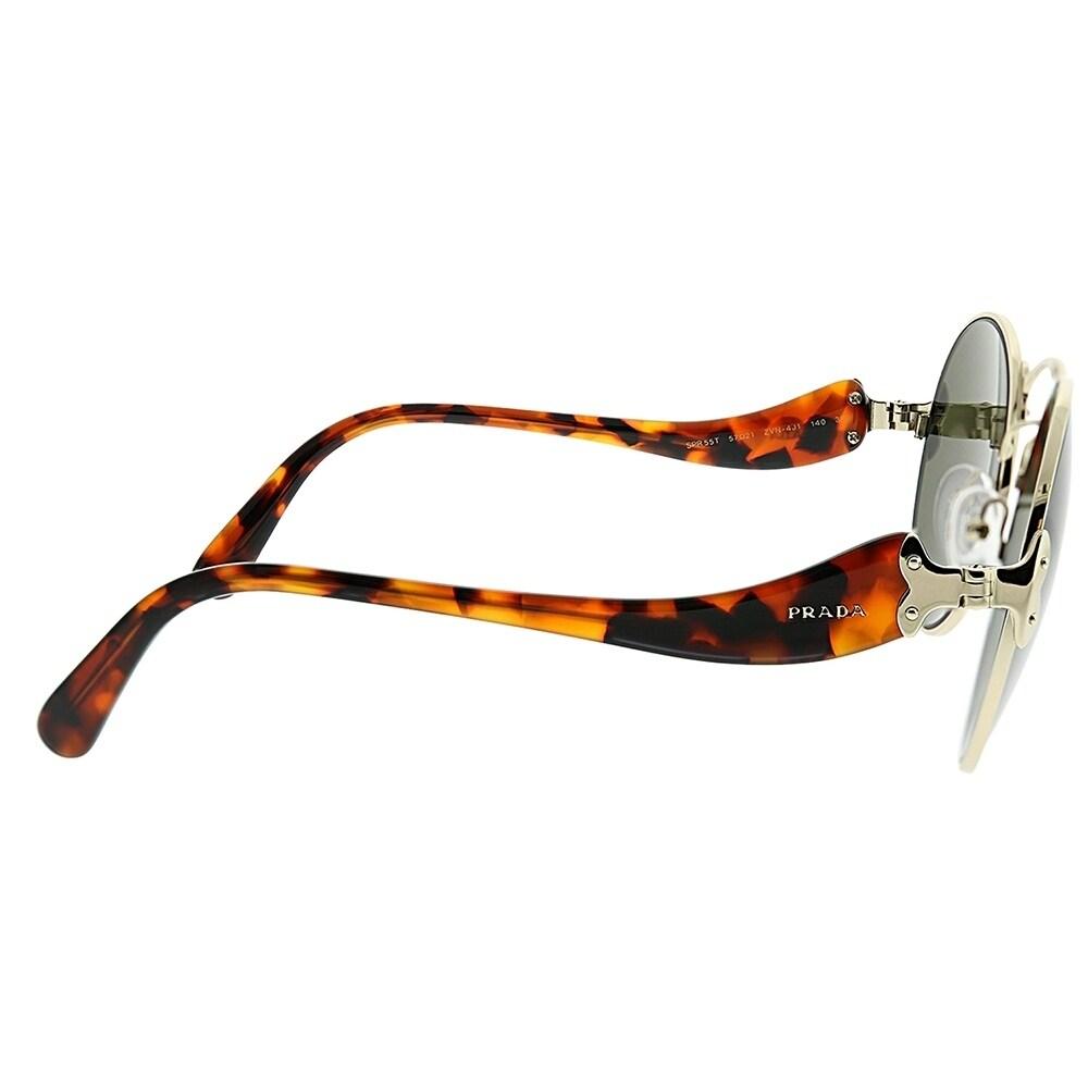 06e10138e83ab Shop Prada Round PR 55TS ZVN4J1 Women Pale Gold Frame Green Lens Sunglasses  - Free Shipping Today - Overstock.com - 23141073
