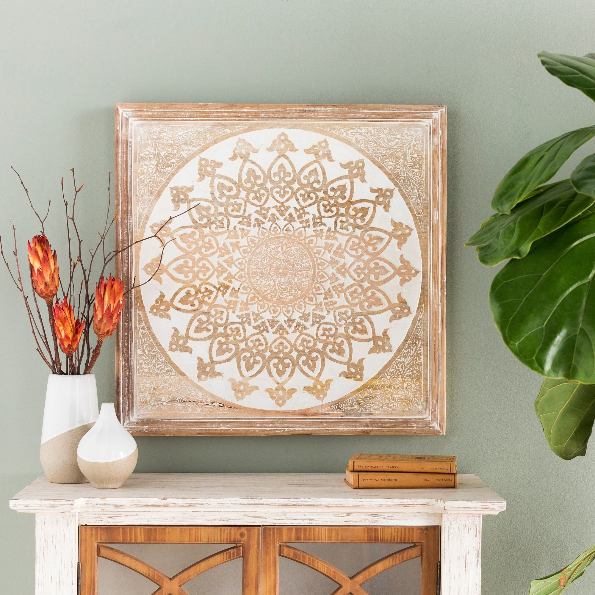 Gabriela Hand Carved Wood Mandala Wall Art Brown