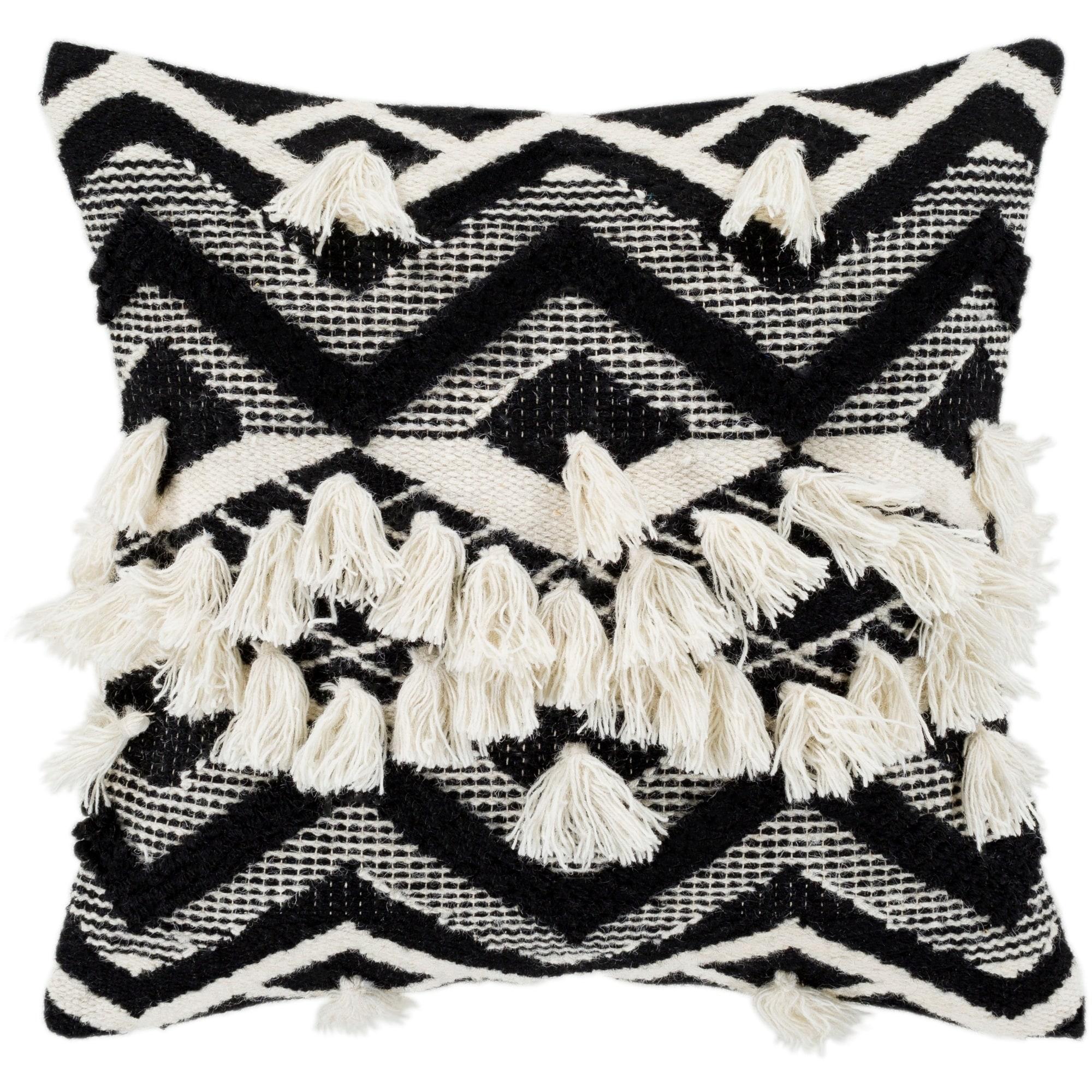 Shop Spectre Black Cream Bohemian Tassel Throw Pillow Cover 20 X