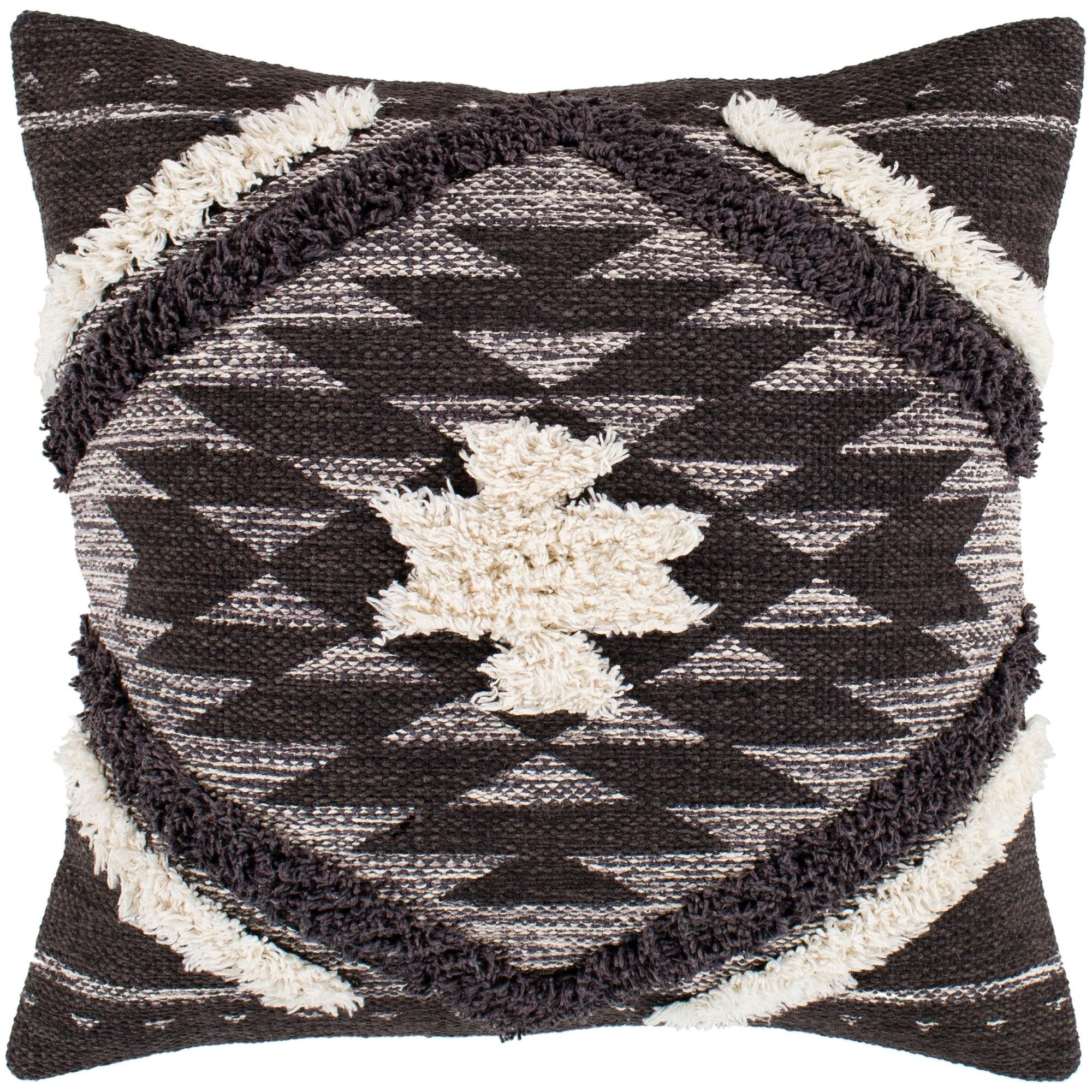 Shop Katherine Black Cream Boho Shag Throw Pillow Cover 20 X 20