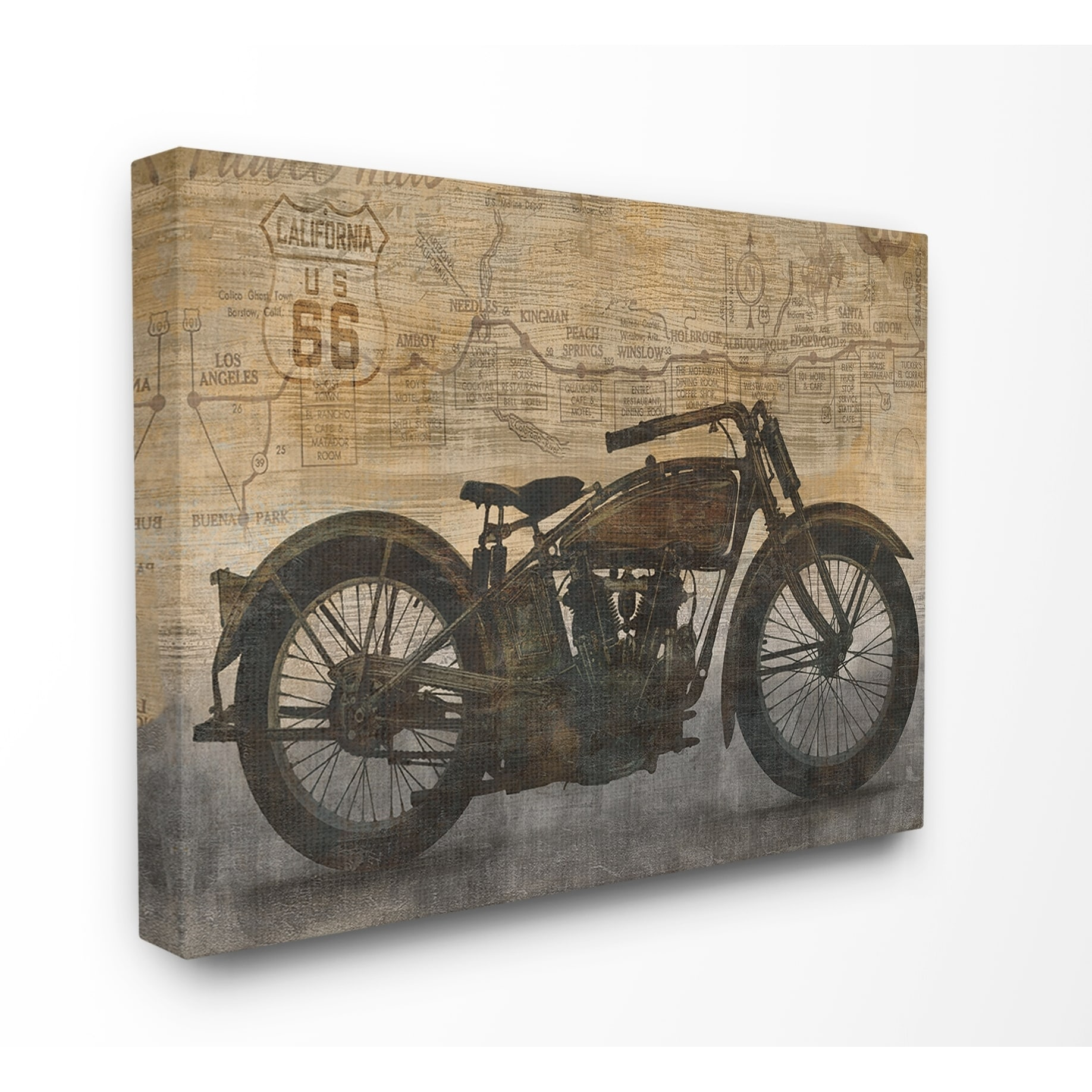 The stupell home décor collection tan and black sepia motorcycle road map canvas wall art 16 x 20 proudly made in usa