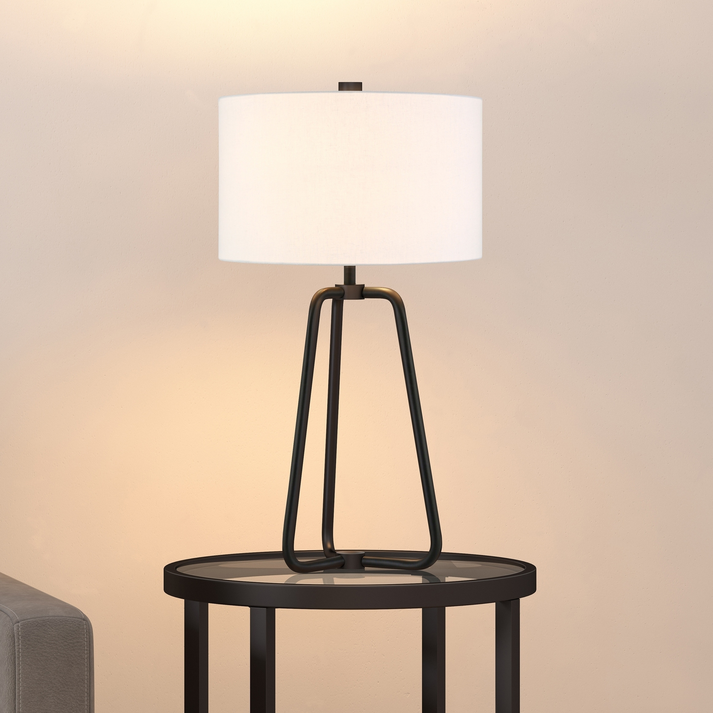 Shop Bryan Table Lamp In Blackened Bronze Finish With Linen Shade