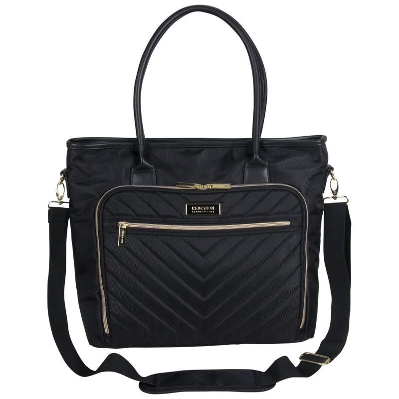 0a19a10b4104 Shop Kenneth Cole Reaction Chelsea Top Zip Quilted Chevron 15in Laptop  Business Tote With Gold Plated Hardware - Free Shipping Today - Overstock -  23145502