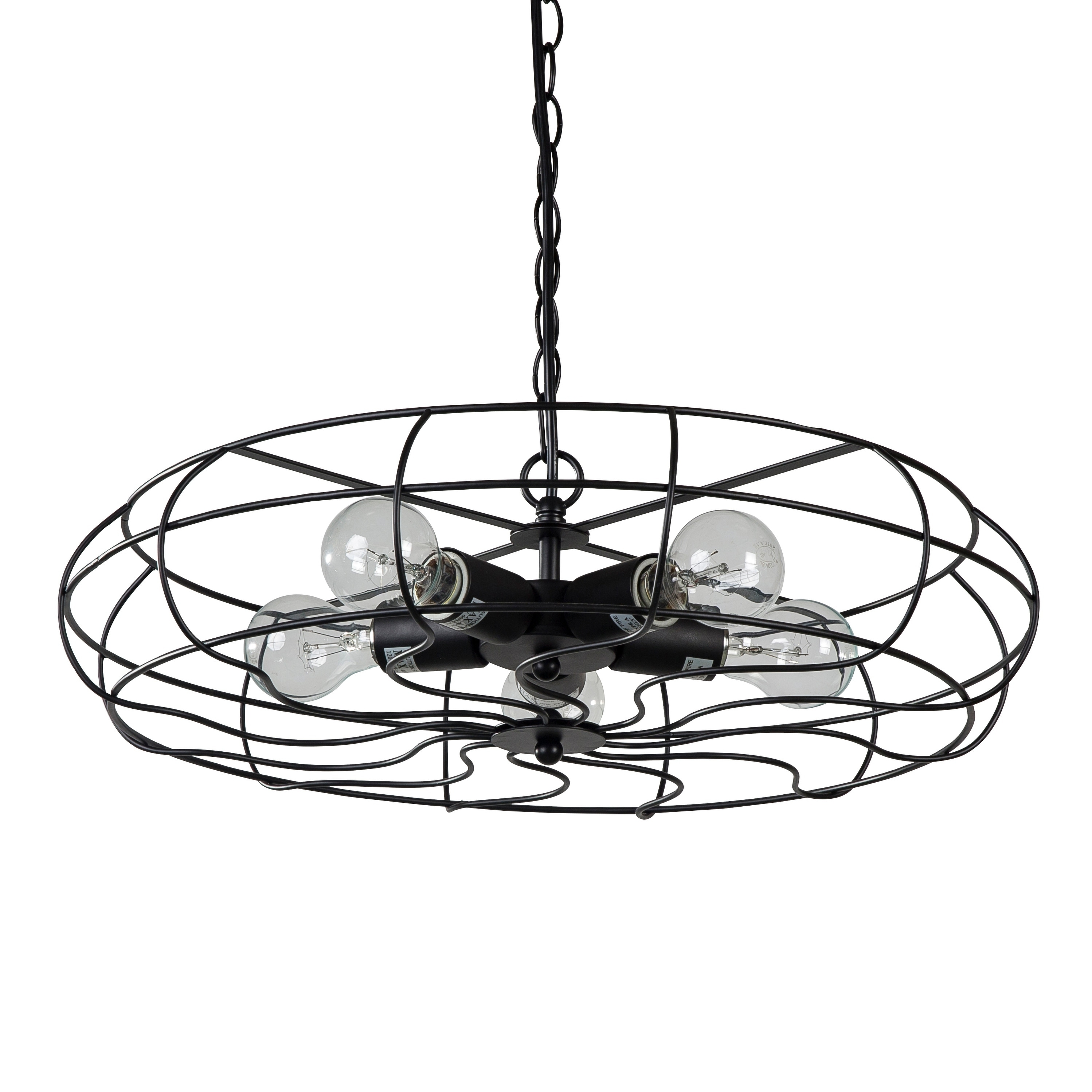 shop vintage hanging industrial chandelier 5 lights black fan style Industrial Style Ceiling Fans shop vintage hanging industrial chandelier 5 lights black fan style cage metal free shipping today overstock 23148110