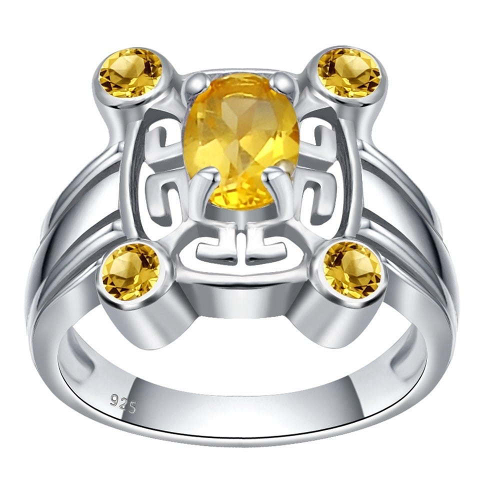 Sterling Silver 8 9ct Tgw Citrine November Birthstone Wedding Ring Free Shipping On Orders Over 45 23150396
