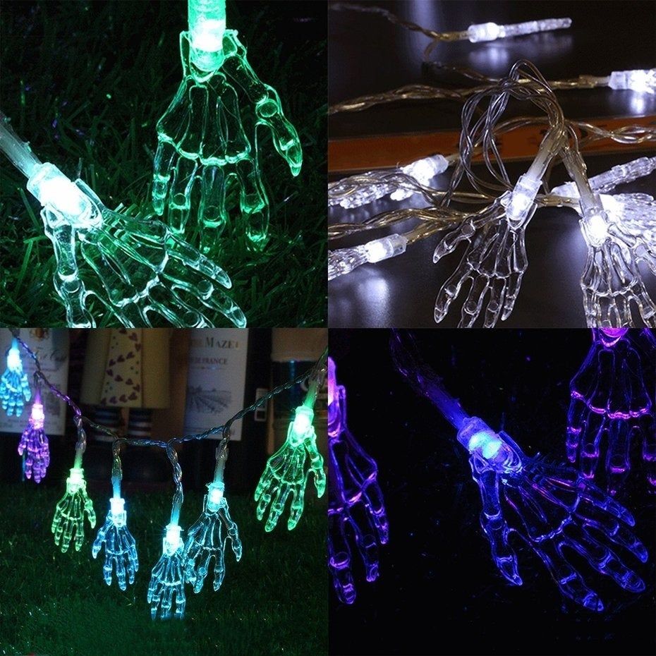Halloween party lighting Backyard Light String With Skeleton Hand Halloween Party Garden Home Decoration Lights Overstock Shop Light String With Skeleton Hand Halloween Party Garden Home