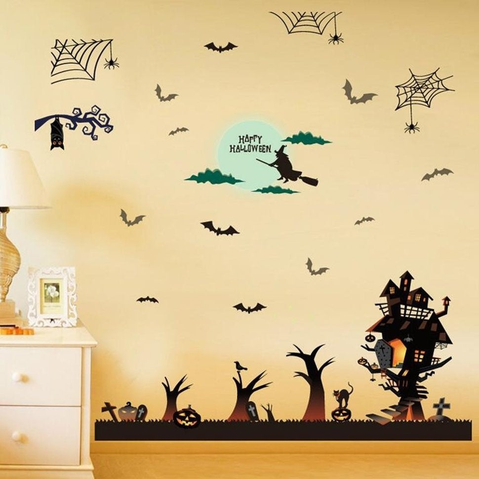 Shop Funny Halloween Decorations Wall Sticker Halloween Party ...