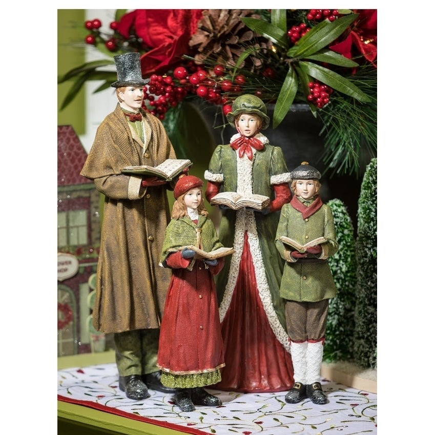 "Shop Town Square Christmas Carolers Tabletop Décor - Set of 4 - 3""l x 3.5""w x 10.5""h, 4.5""l x 5""w x 15.5""h - Free Shipping Today - Overstock - 23158031"