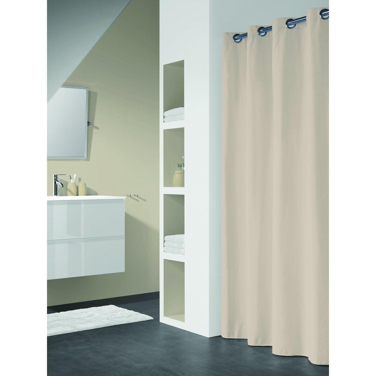 Shop Sealskin Extra Long Hookless Shower Curtain 78 X 72 Inch Coloris Beige Cotton