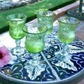 Set of 4 Handmade Blown Glass Lime Twist Goblets (Mexico)