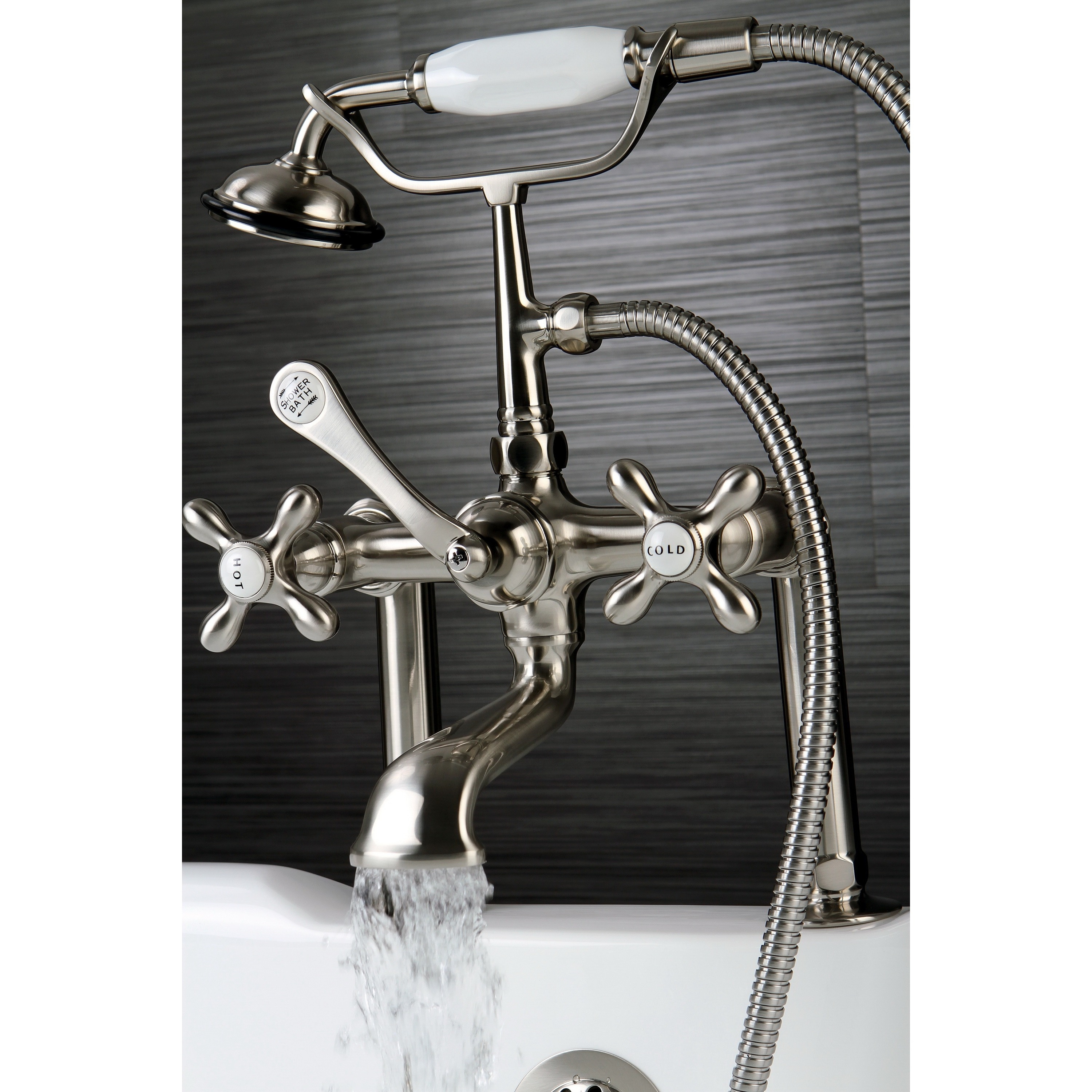 Shop Satin Nickel Clawfoot Tub Faucet - On Sale - Free Shipping ...