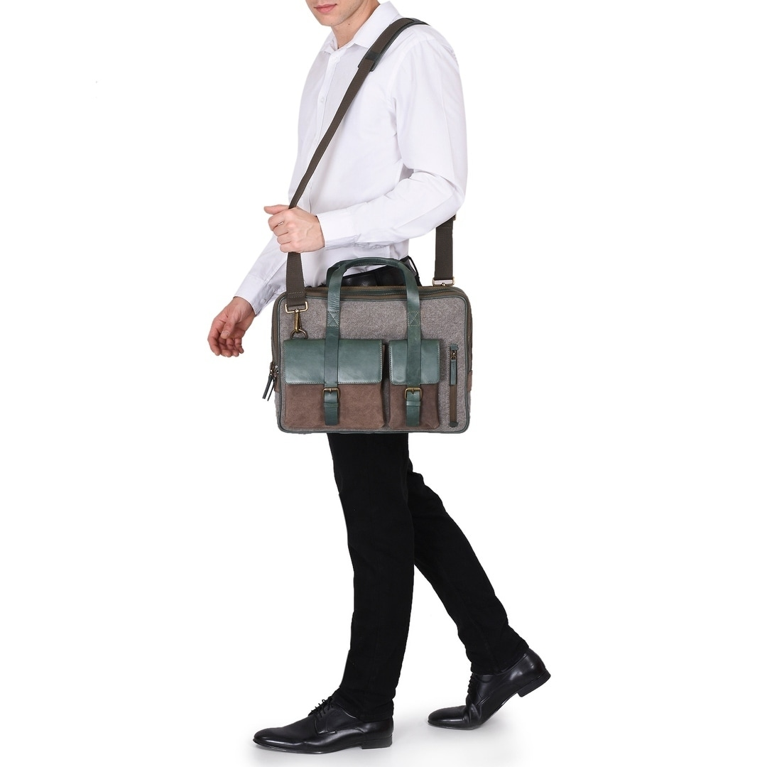 fa69246f00c Shop Handmade Phive Rivers Men s Leather and Canvas Green Laptop Bag  (Italy) - One size - Free Shipping Today - Overstock.com - 23332225