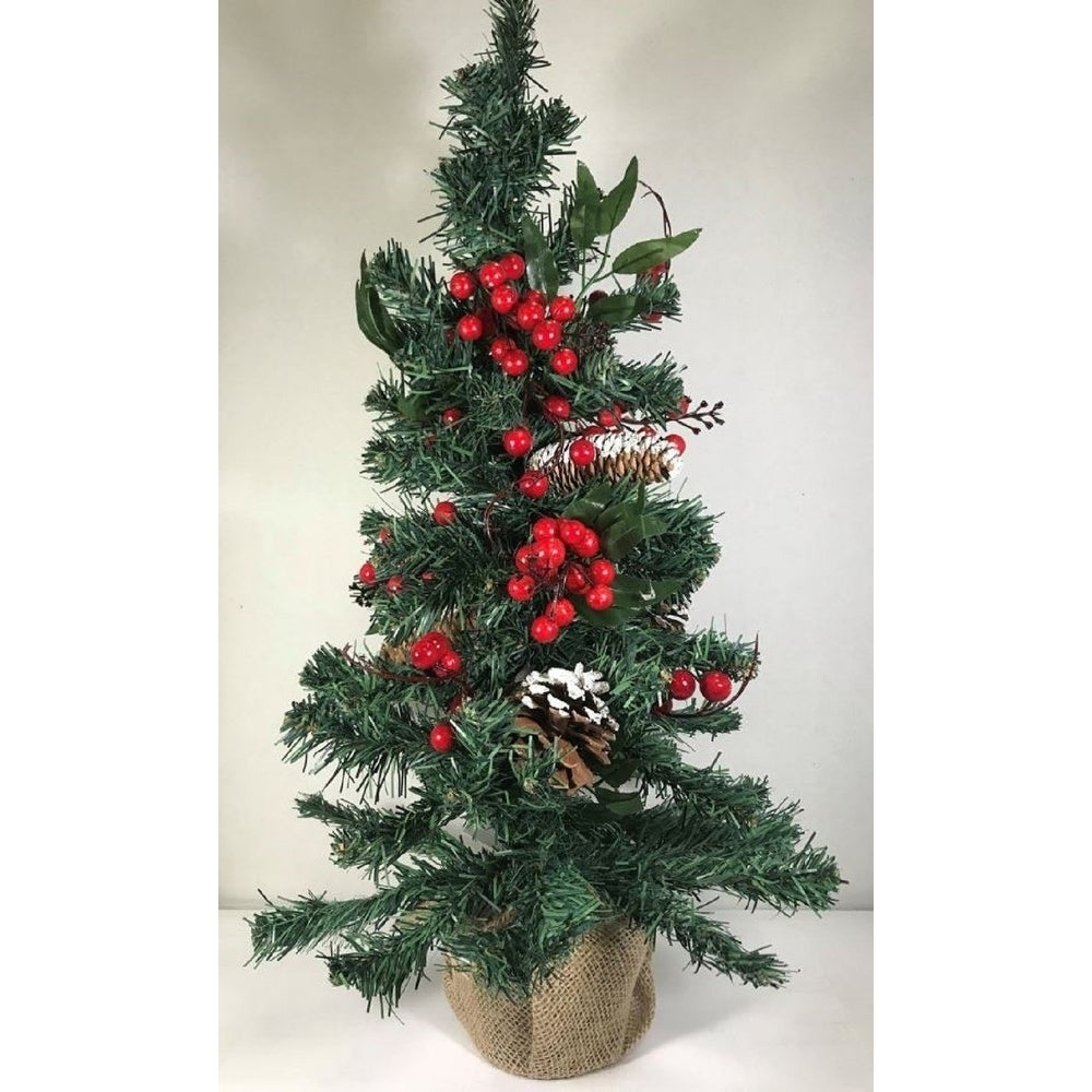 "Shop Tabletop Christmas Tree in Burlap 24"" - Free Shipping On Orders Over $45 - Overstock - 23384221"
