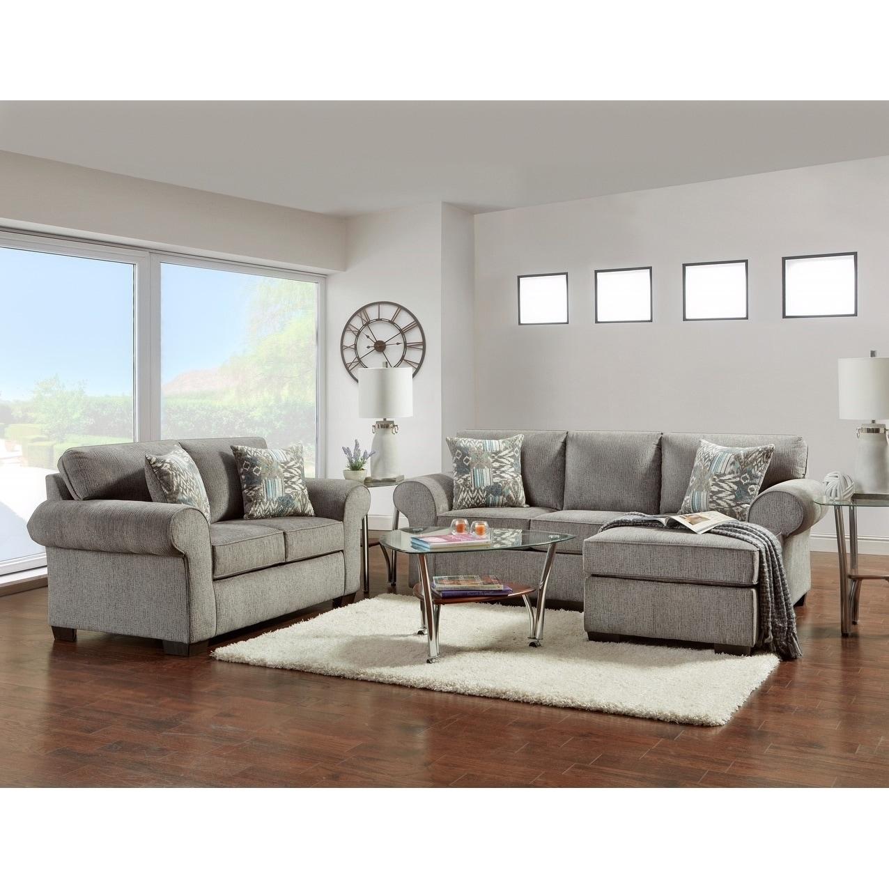 Shop Sofatrendz Claire Nickel Grey Sofa Chaise Loveseat Set Free