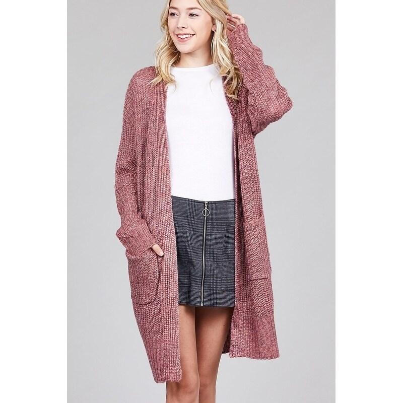 da404eed6cf JED Women's Chunky Knit Marled Slouchy Long Cardigan
