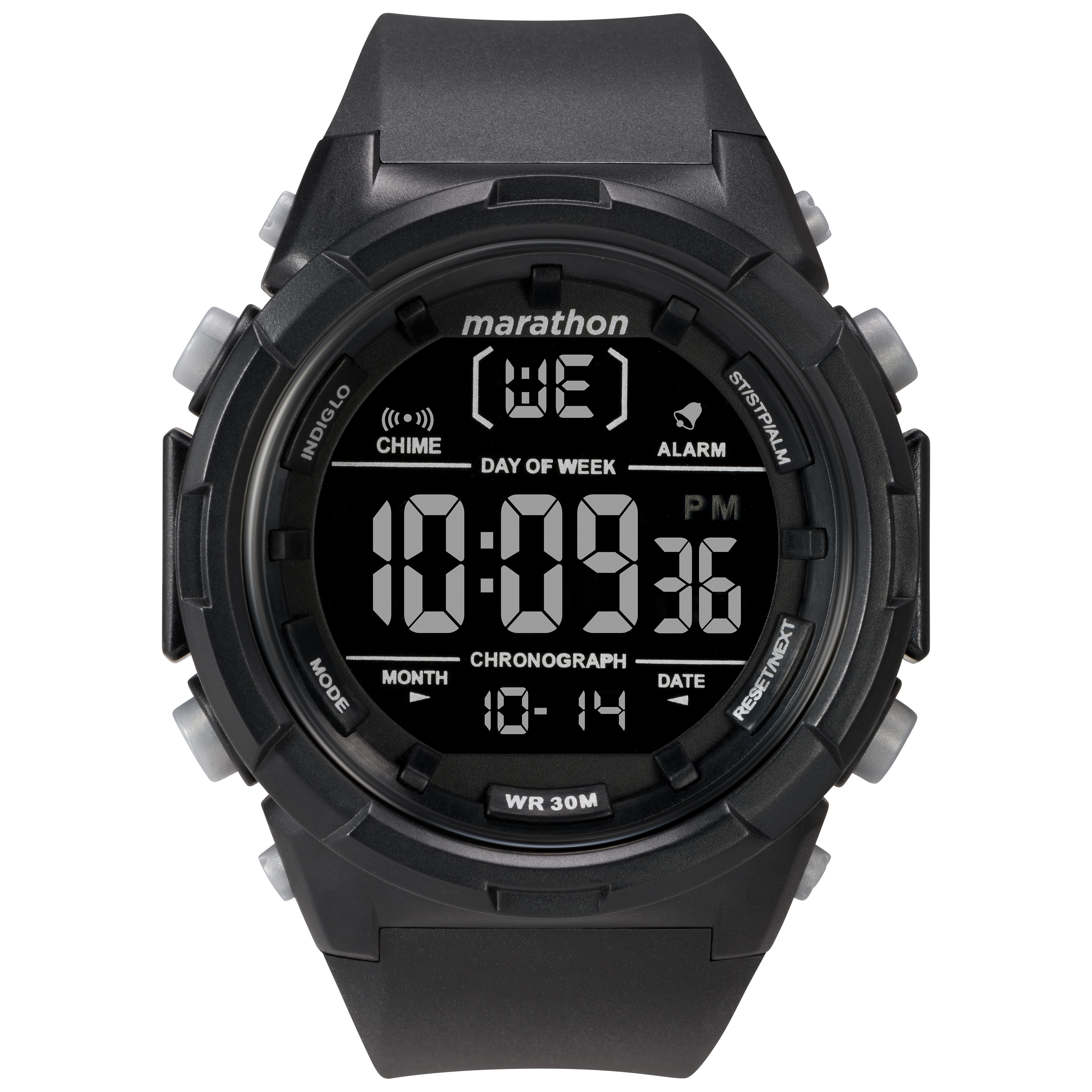 8b2d75341 Marathon by Timex Men s TW5M22300 Digital 50mm Black Negative Resin Strap  Watch - N A