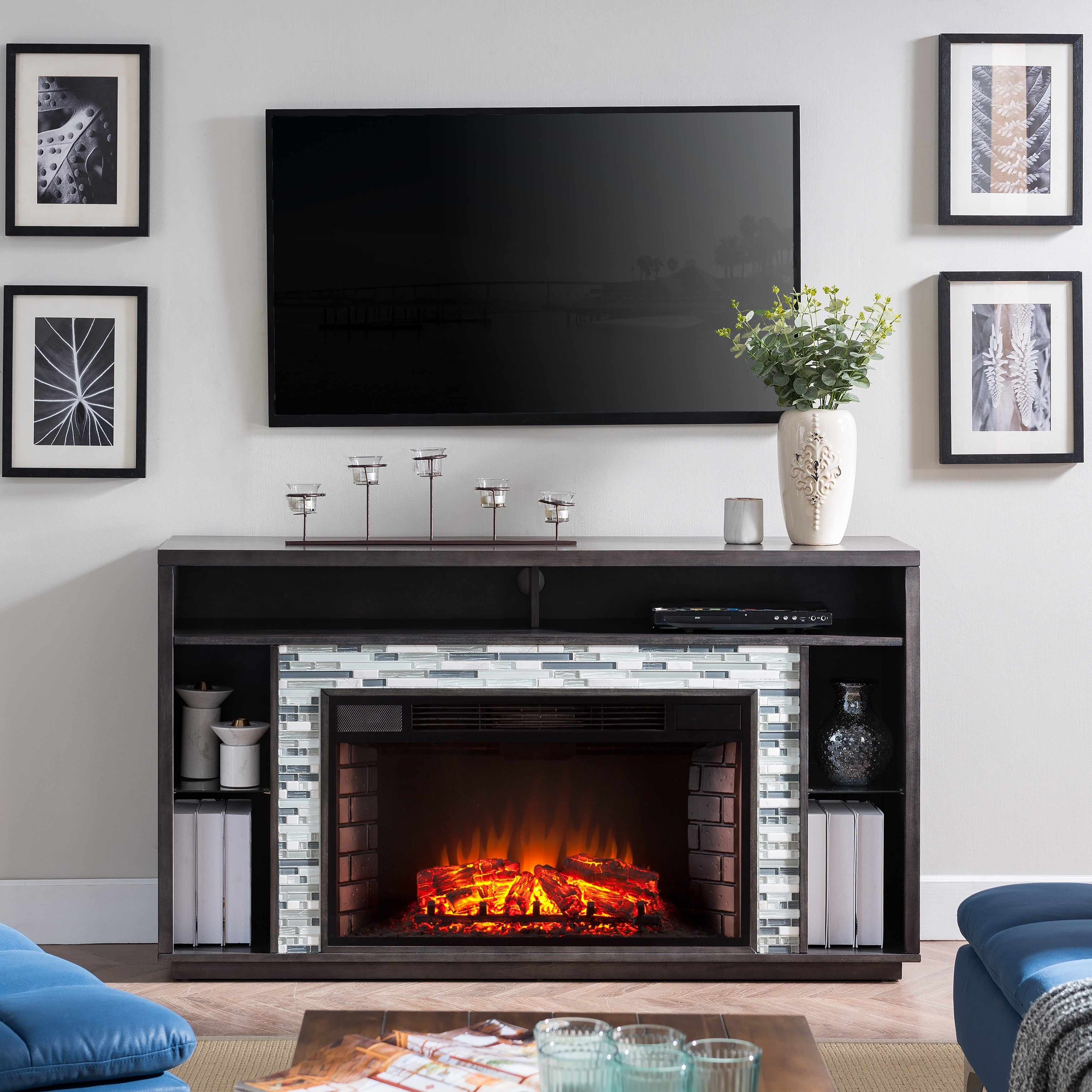 Shop Harper Blvd Niamh Glass Tiled Tv Stand Electric Fireplace