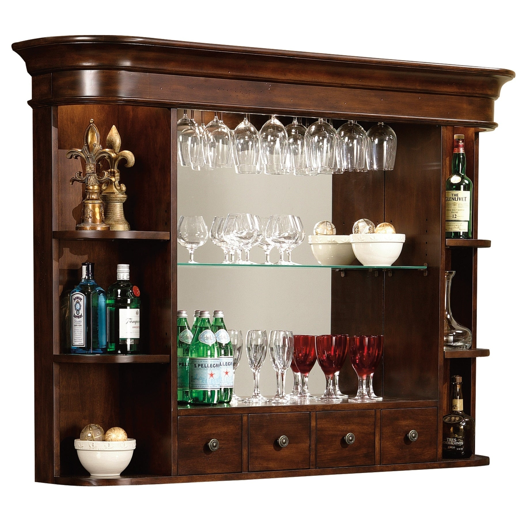 Shop Howard Miller Niagara Hutch Vintage Liquor Or Wine Display Shelves  With Mirrored Back   Free Shipping Today   Overstock.com   23439245